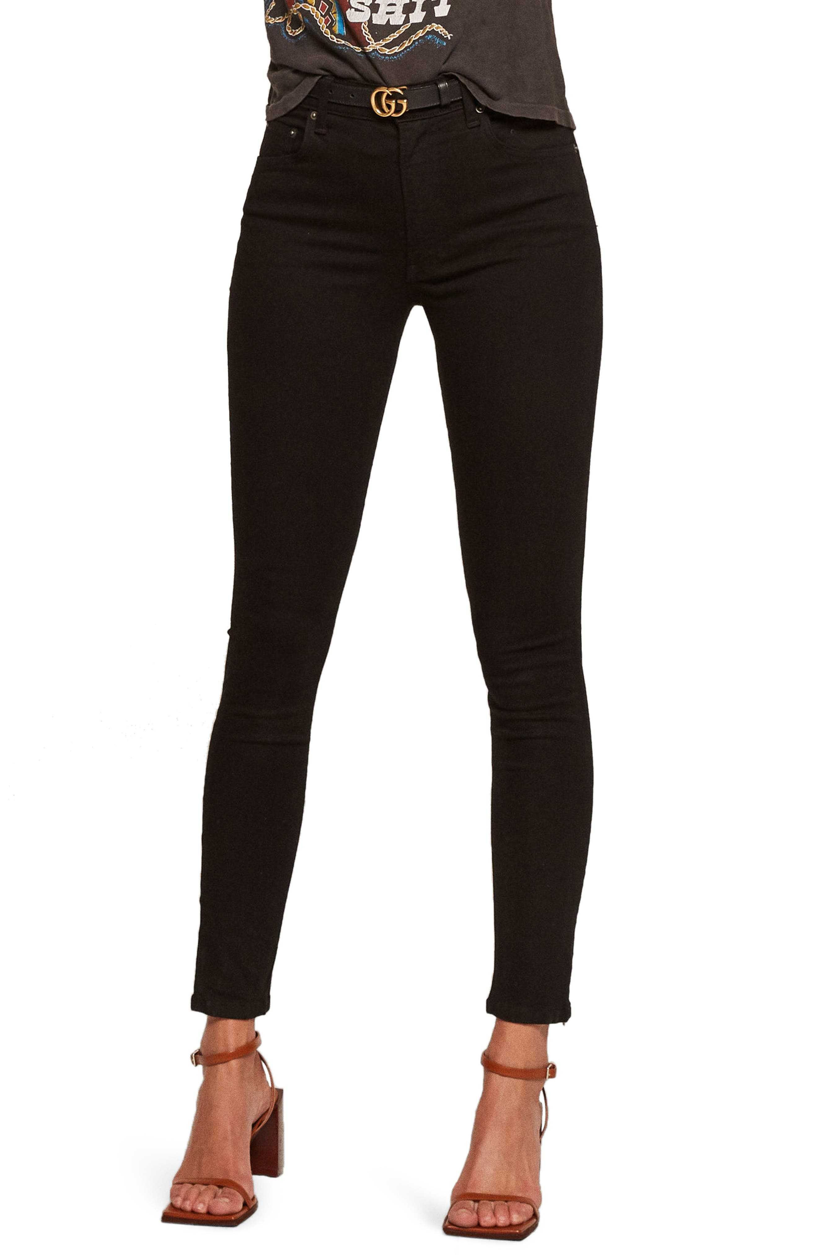 High & Skinny Jeans,                         Main,                         color, BLACK