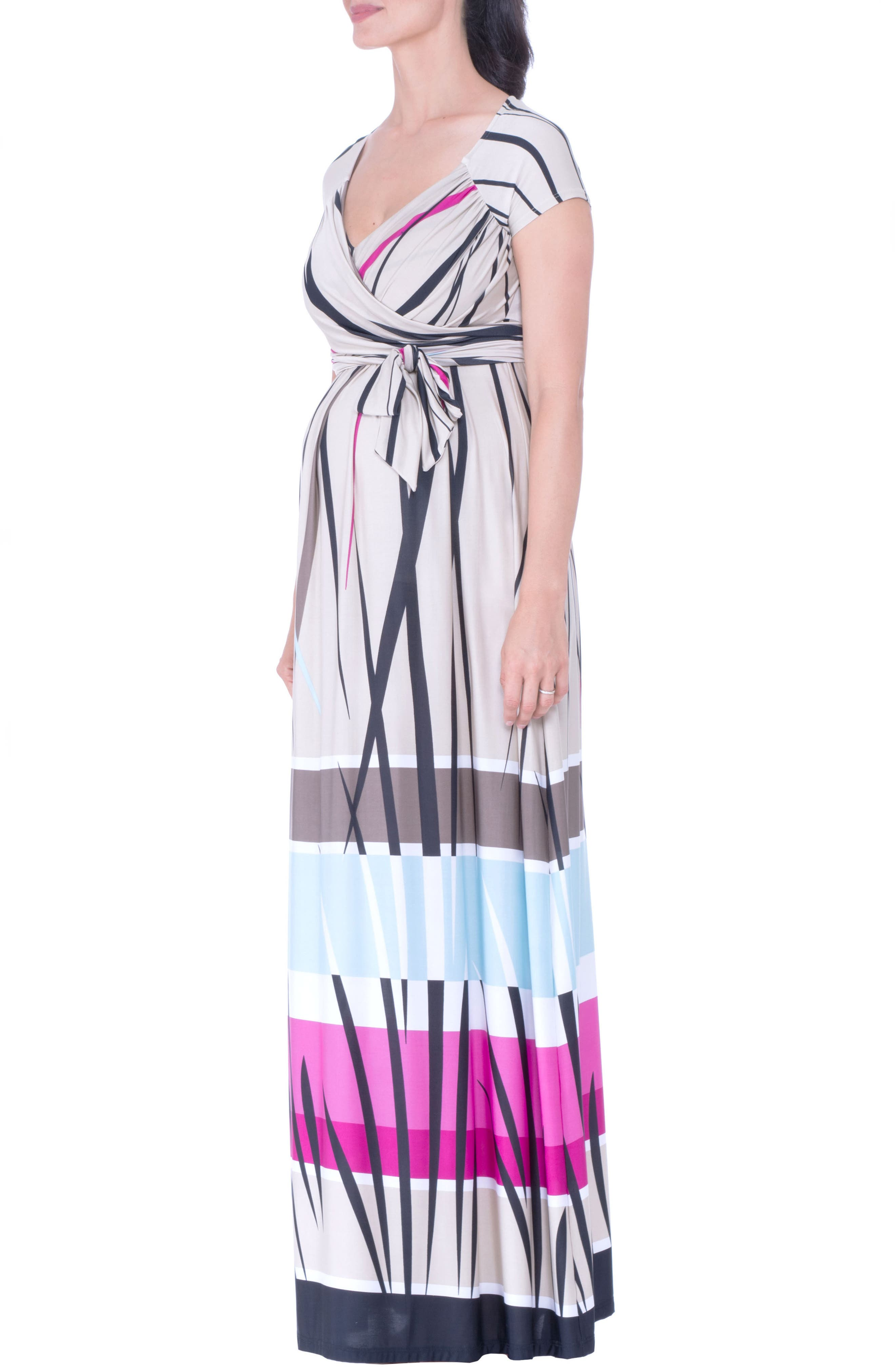 Print Maternity Maxi Dress,                         Main,                         color, BEIGE