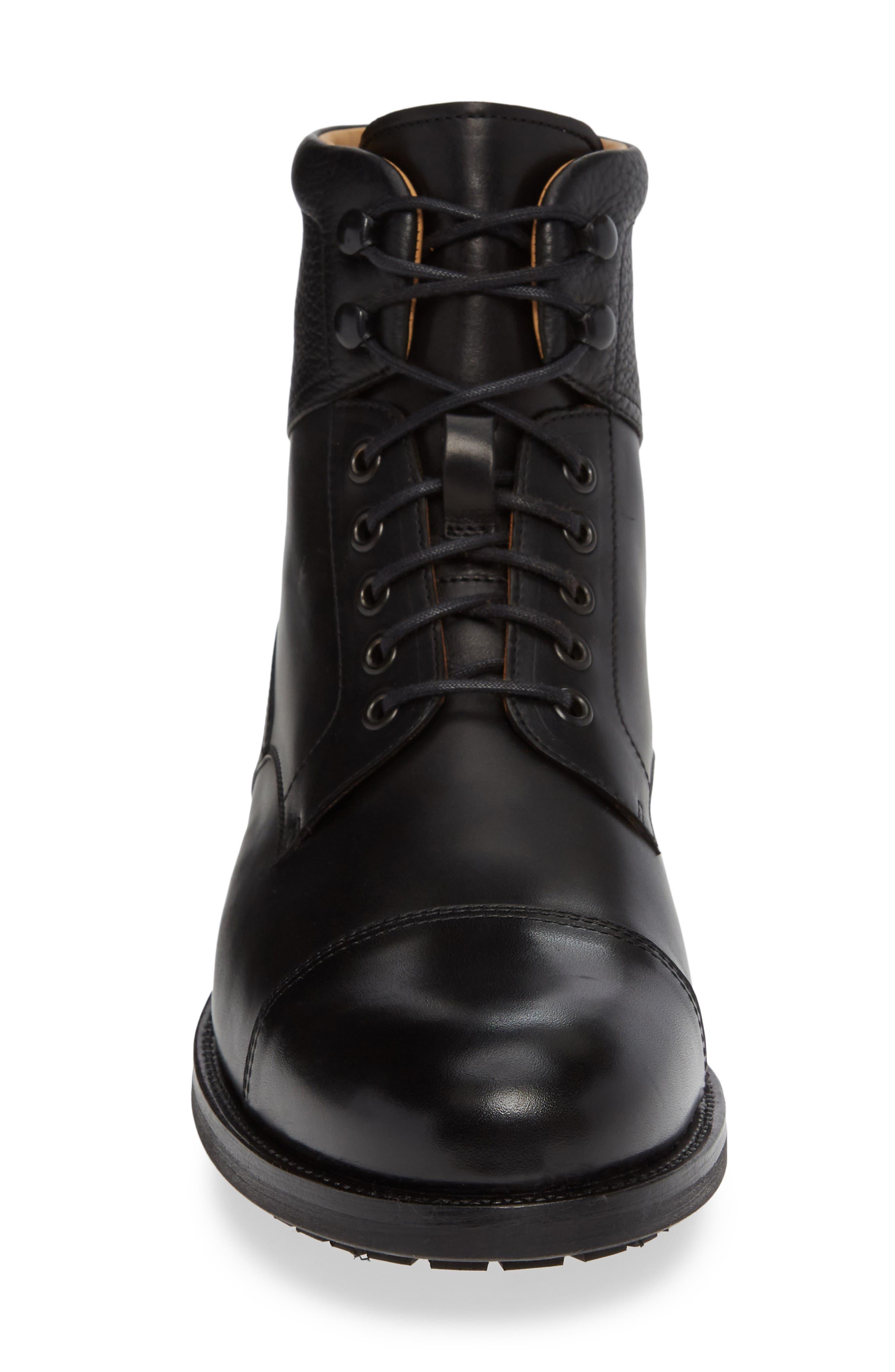 Peyton Cap Toe Boot,                             Alternate thumbnail 4, color,                             BLACK LEATHER