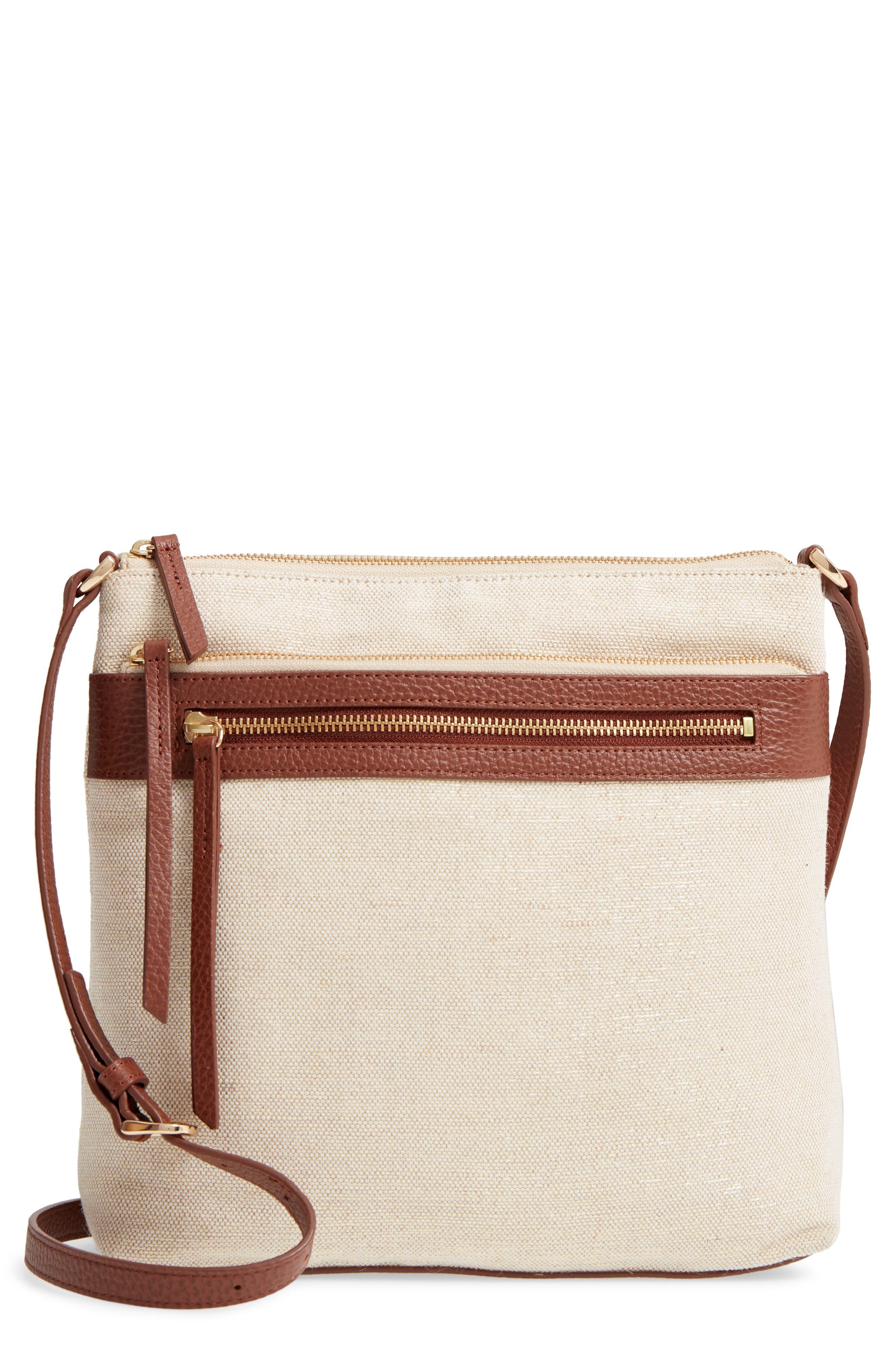 Kaison Linen & Leather Crossbody Bag,                         Main,                         color, NATURAL/ GOLD