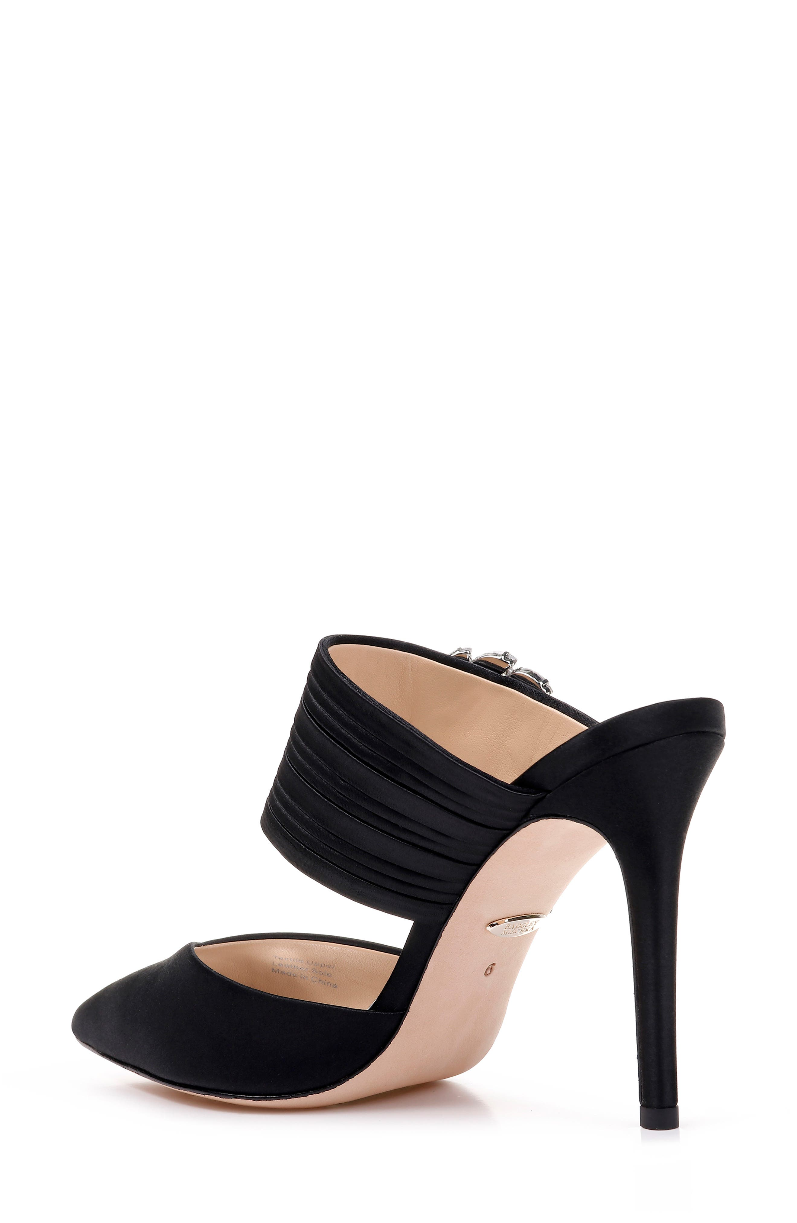 Badgley Mischka Crystal Buckle Mule,                             Alternate thumbnail 2, color,                             BLACK SATIN