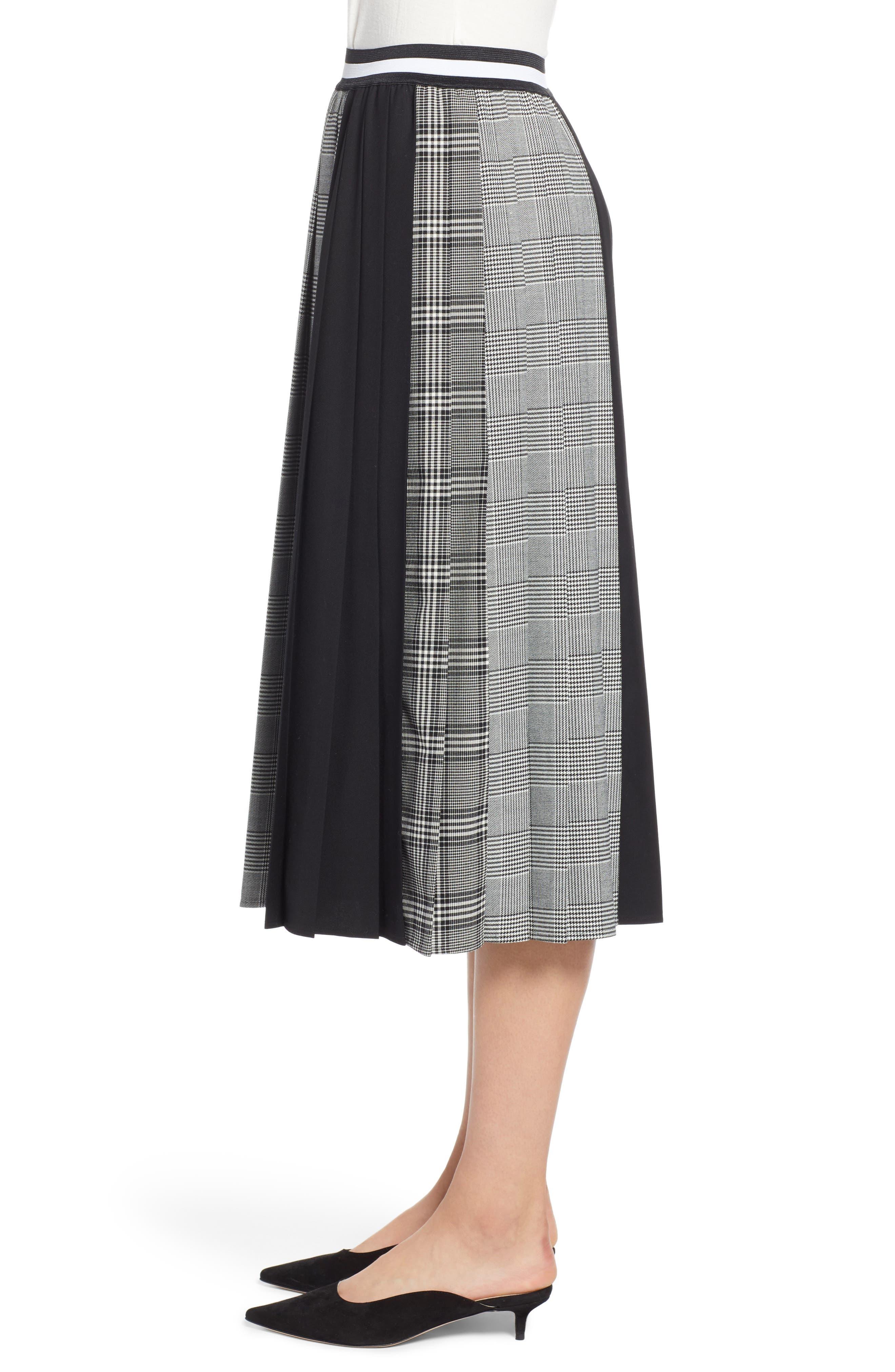 Plaid A-Line Skirt,                             Alternate thumbnail 3, color,                             001