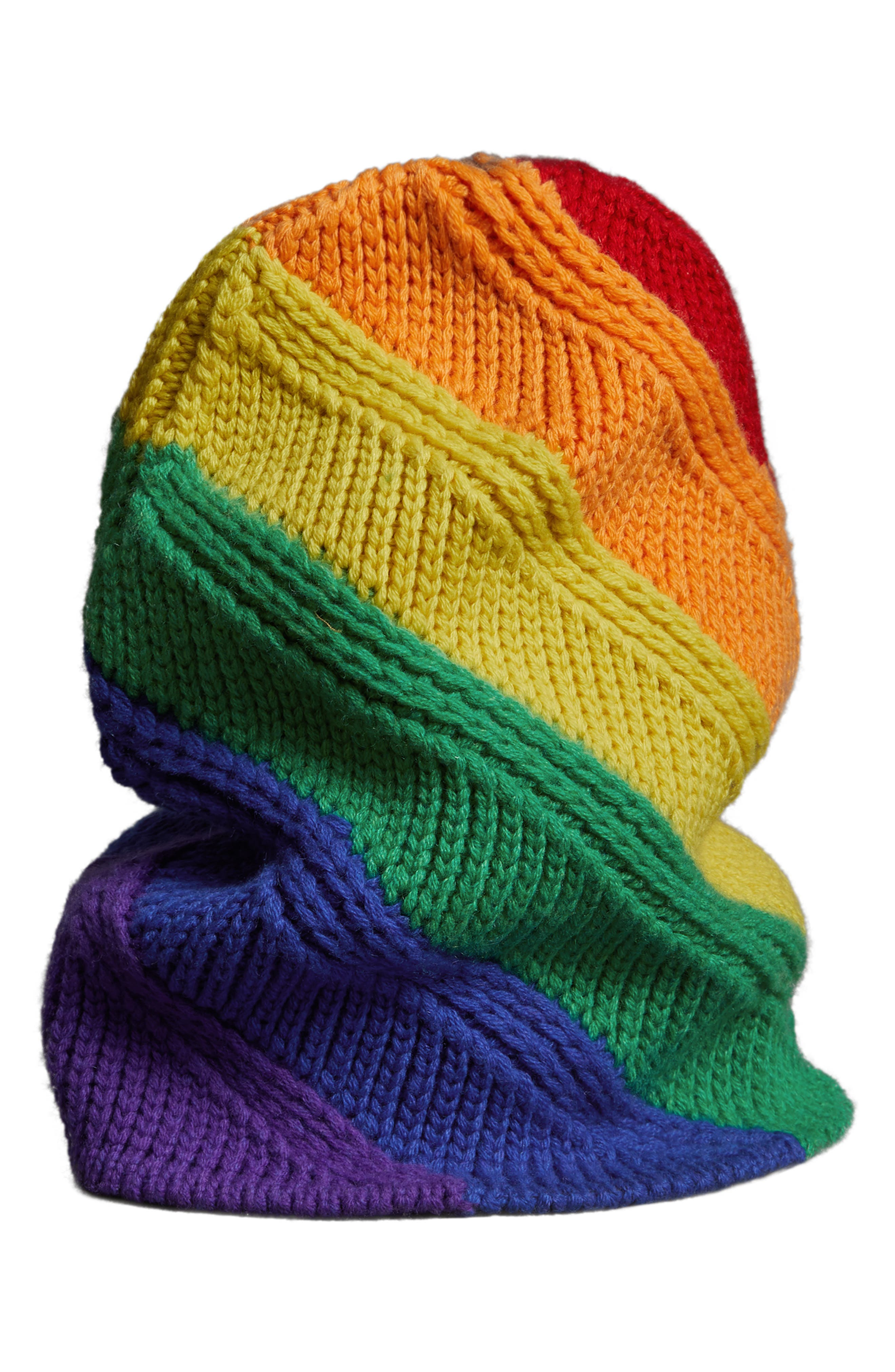 Rainbow Stripe Wool & Cashmere Knit Beanie,                             Main thumbnail 1, color,                             440