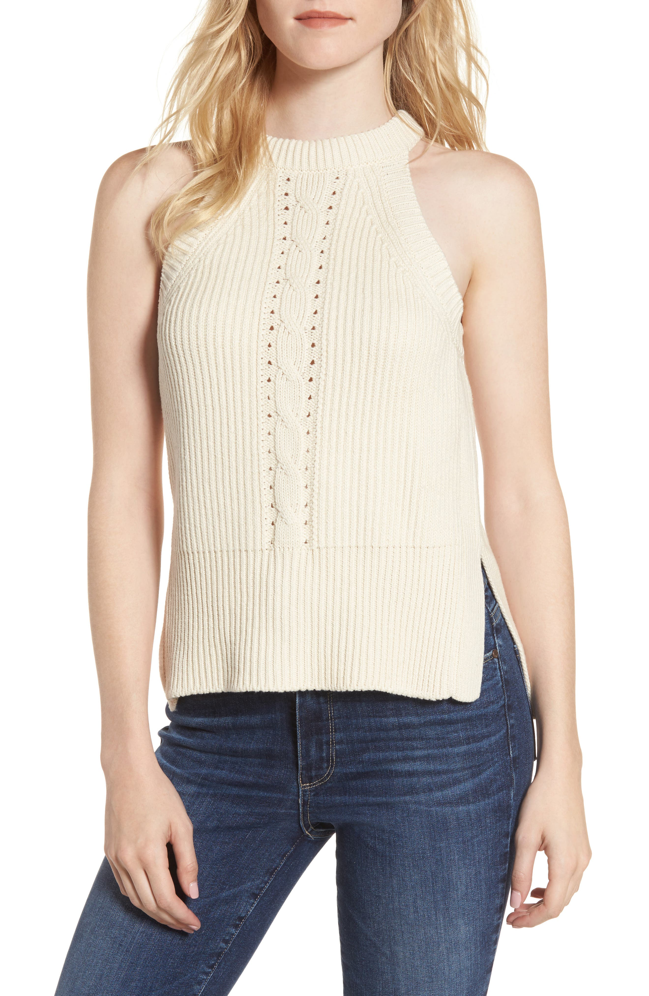 Sleeveless Cable Sweater,                         Main,                         color,