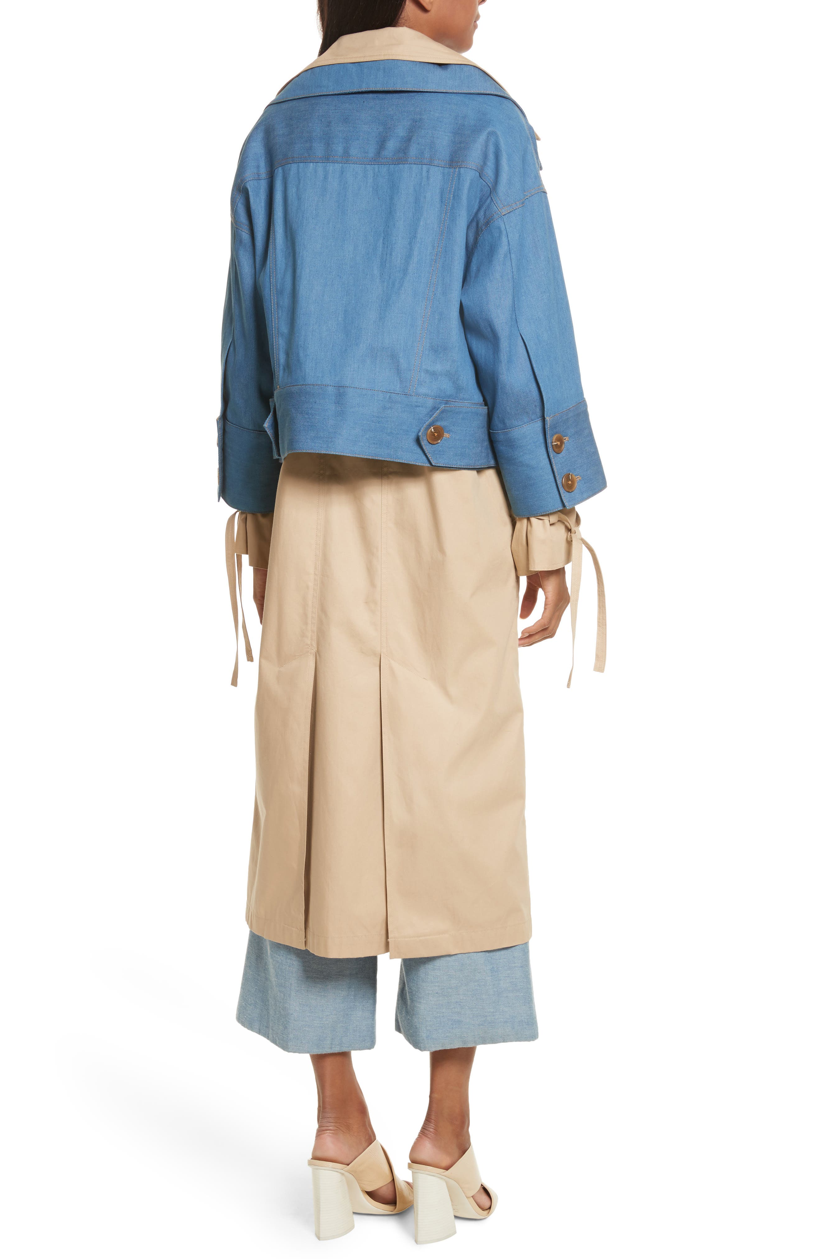 Denim Overlay Trench Coat,                             Alternate thumbnail 2, color,
