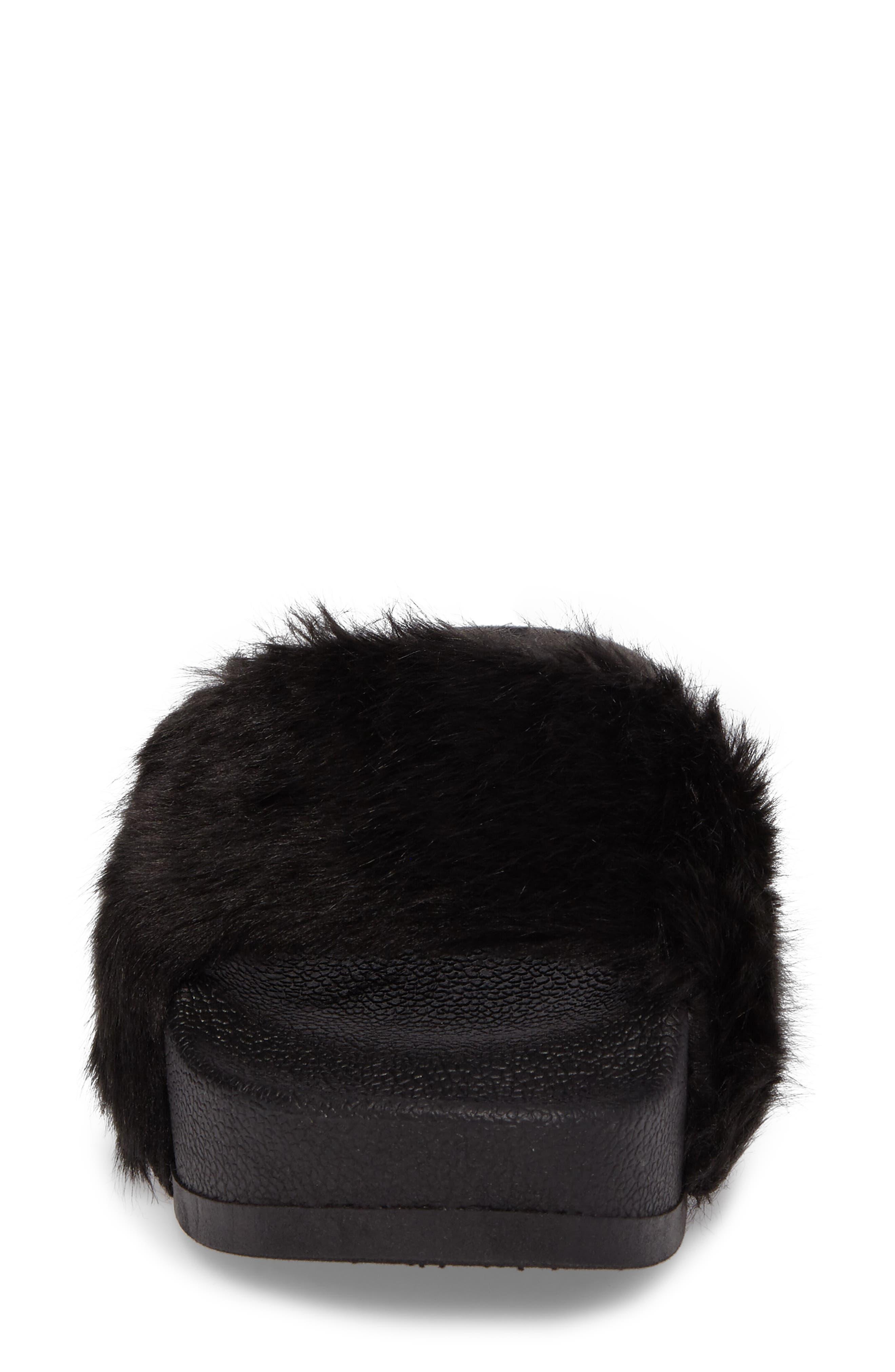 STEVE MADDEN,                             Softey Faux Fur Platform Slide,                             Alternate thumbnail 4, color,                             001