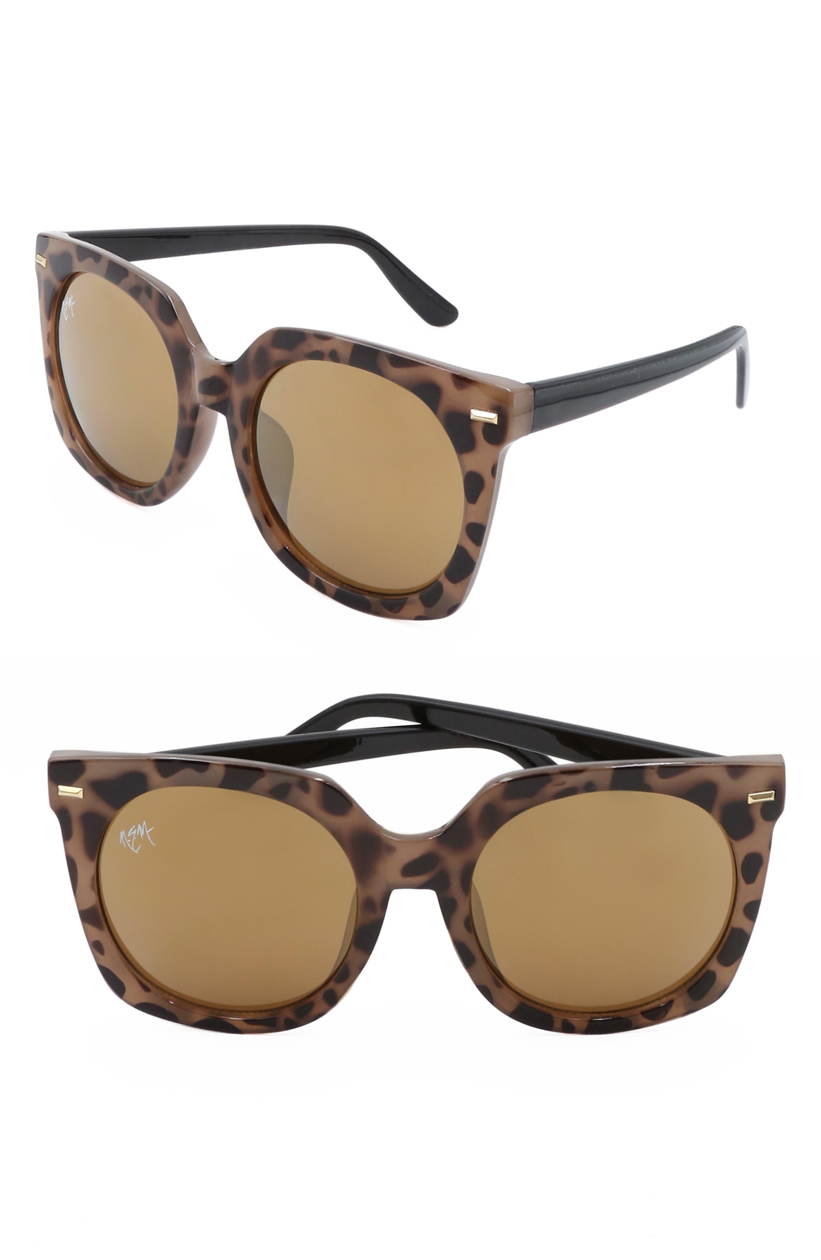 Nem Melrose 55Mm Square Sunglasses - Brown Marble W Amber Lens