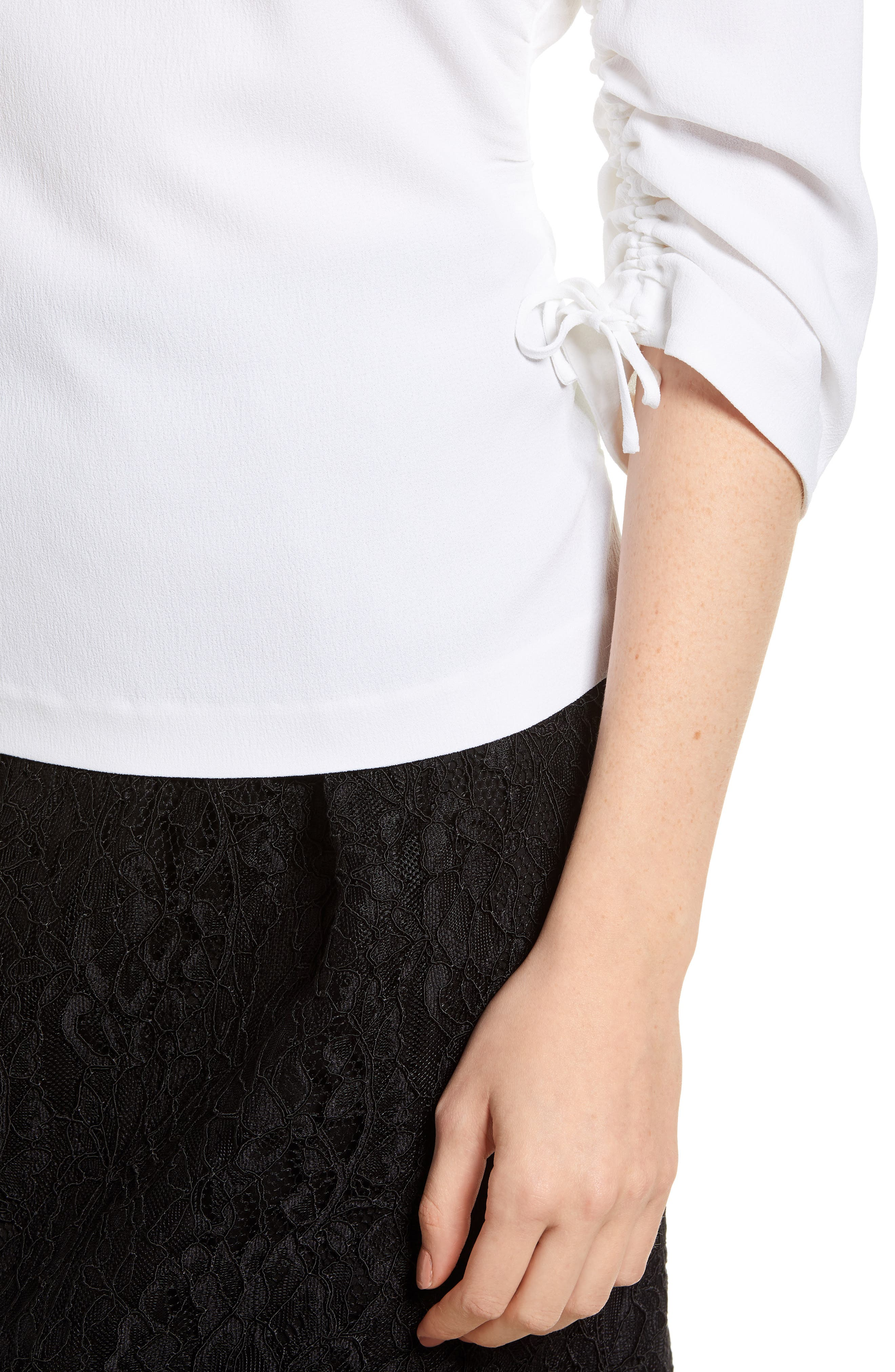 Ruched Crepe Top,                             Alternate thumbnail 4, color,                             100