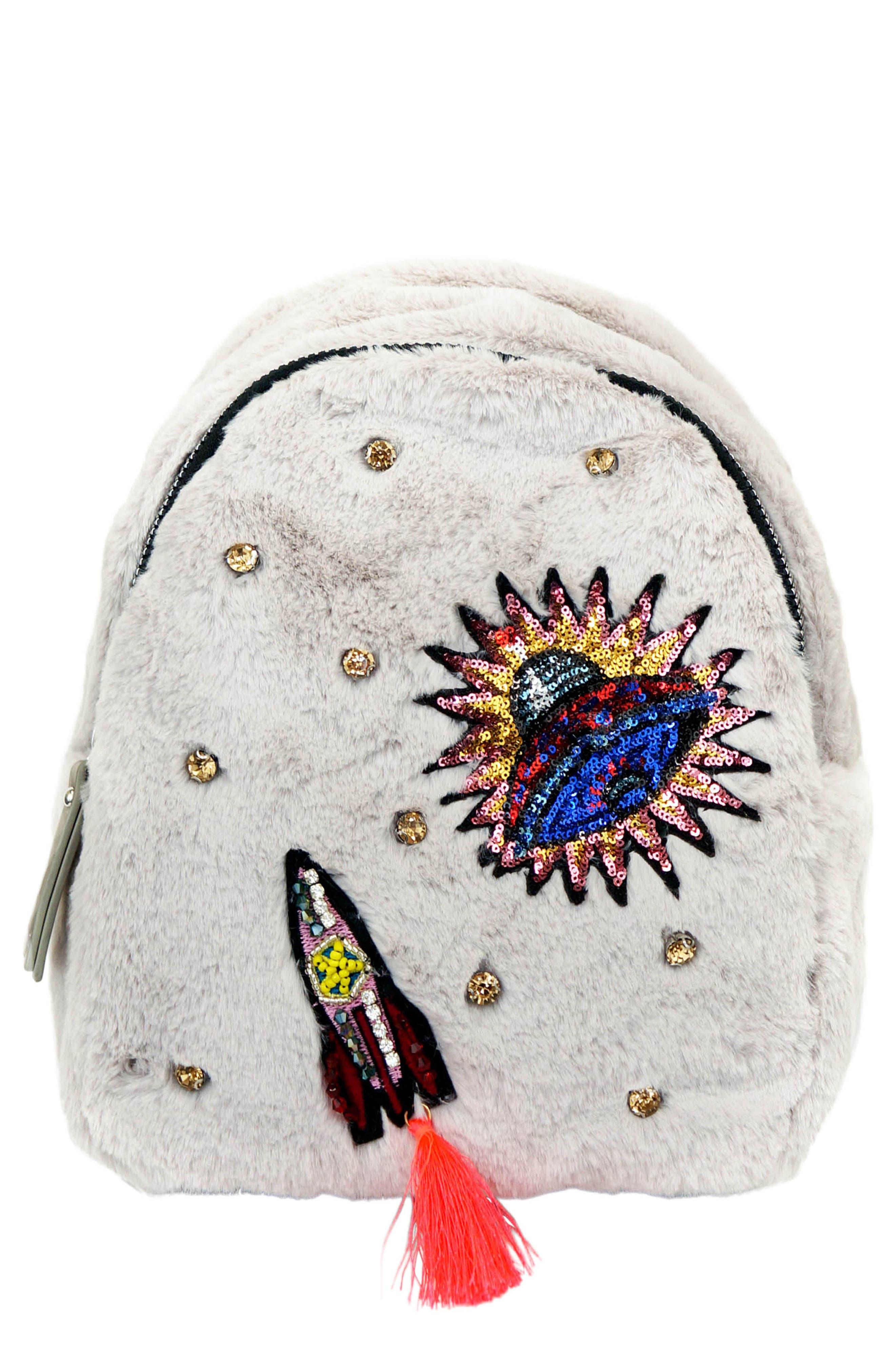 Rocket Ship Faux Fur Backpack,                         Main,                         color, GREY