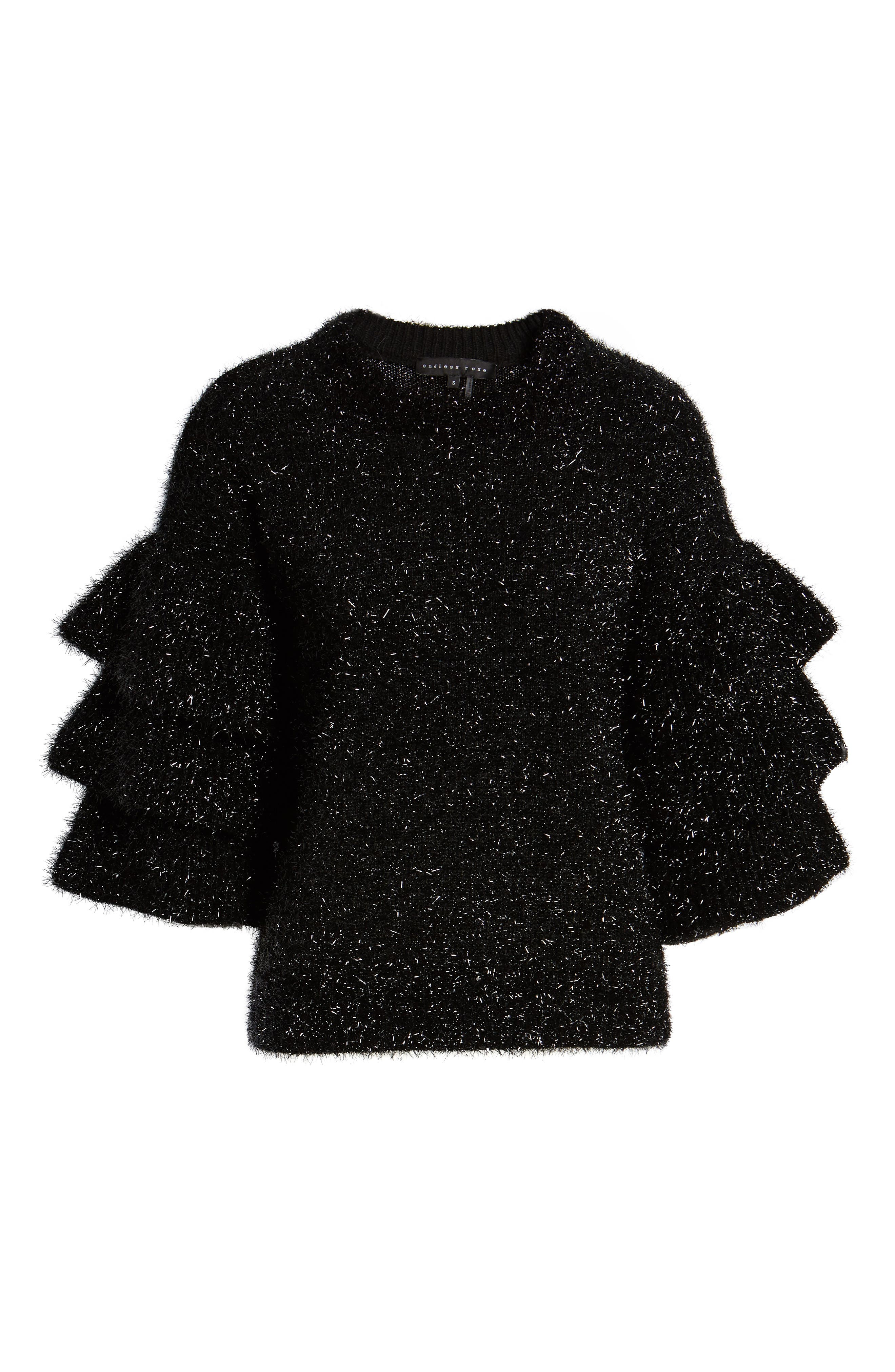 Tiered Sleeve Sweater,                             Alternate thumbnail 6, color,                             BLACK