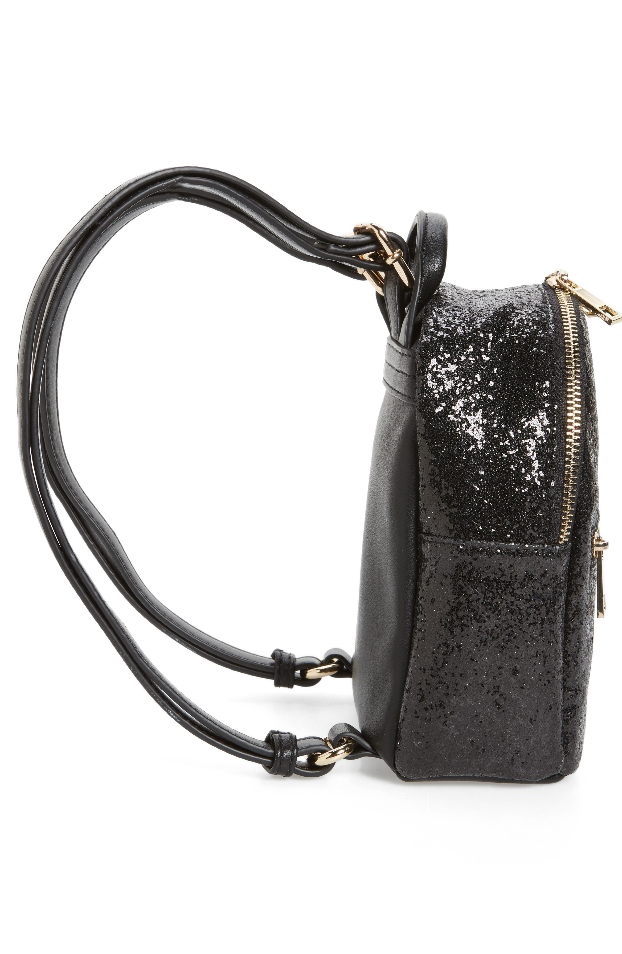 Mali + Lili Glitter Vegan Leather Backpack,                             Alternate thumbnail 5, color,                             BLACK