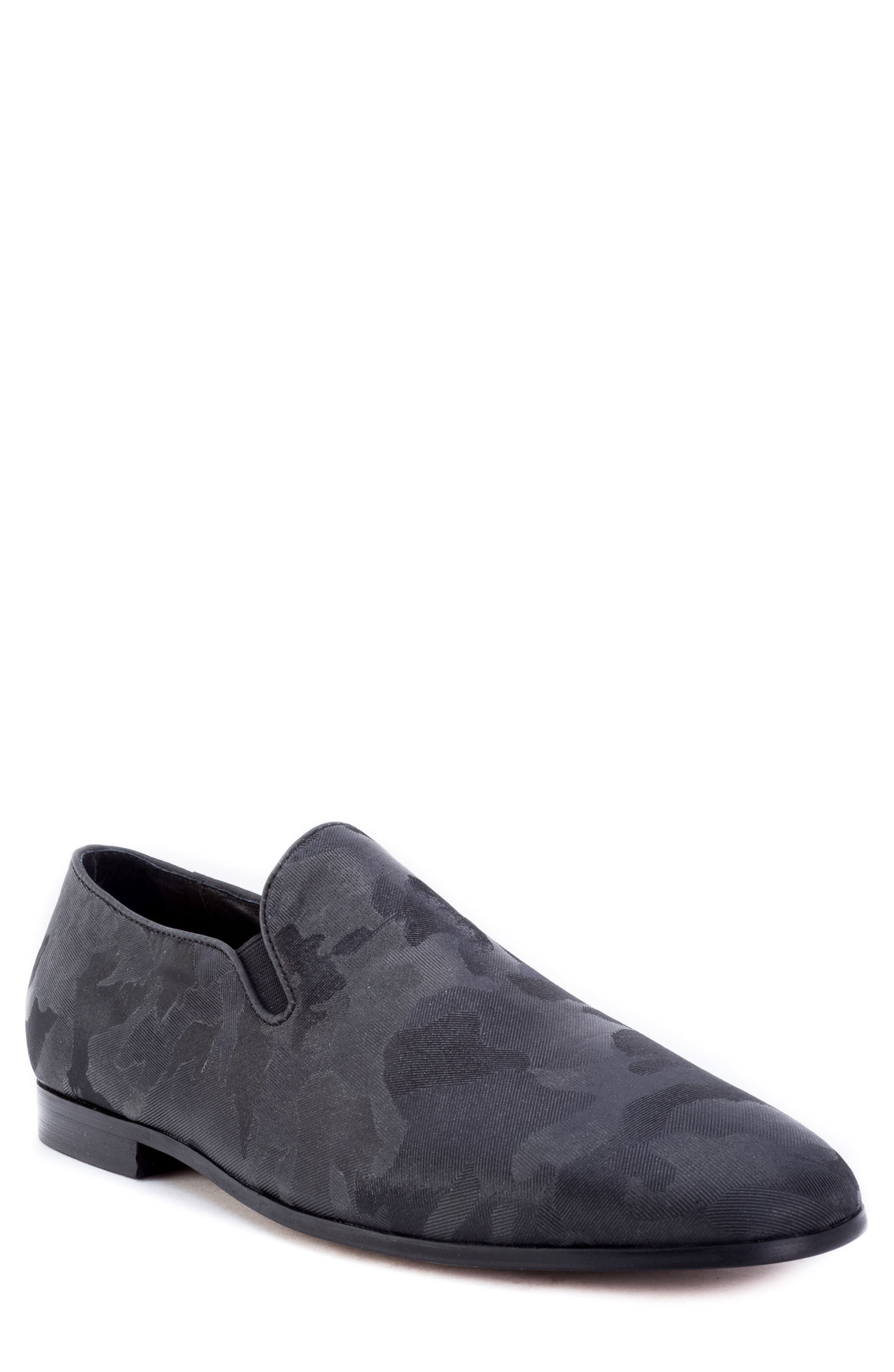 Fry Camouflage Venetian Loafer,                             Main thumbnail 1, color,                             BLACK FABRIC