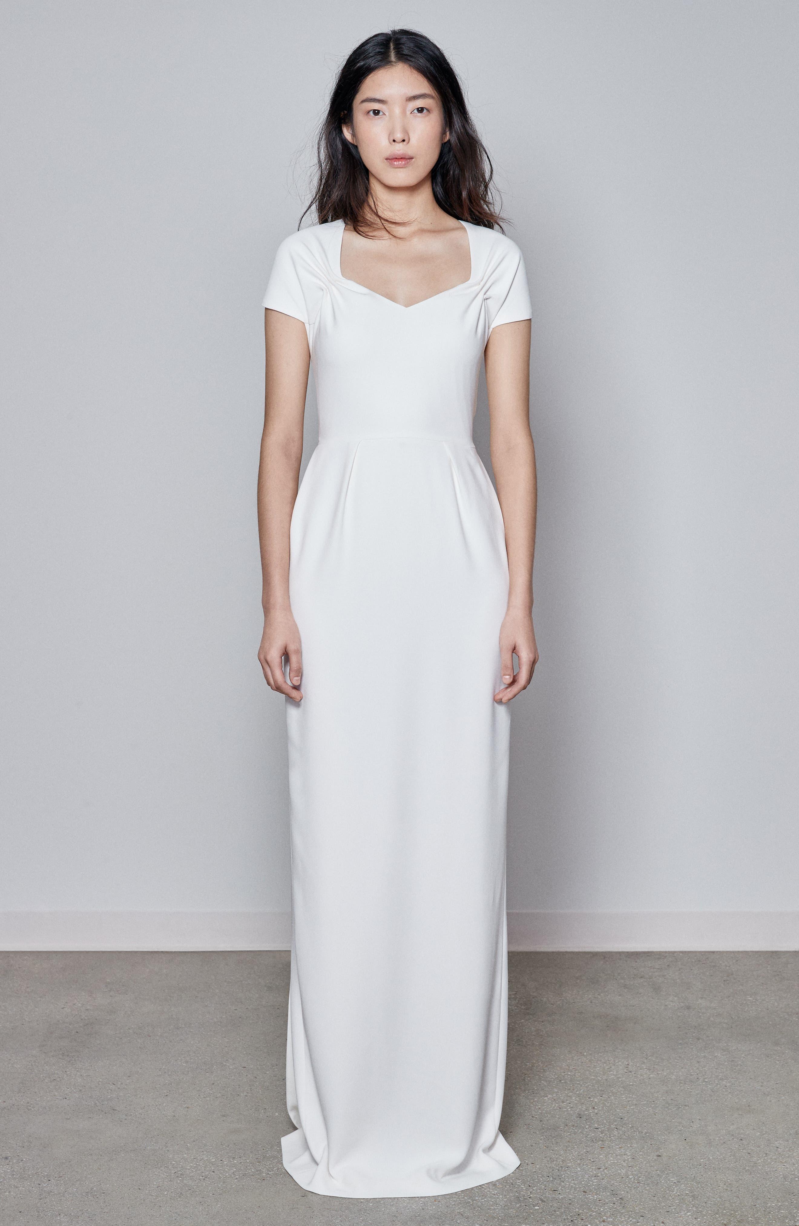 F18 Rose Cap Sleeve Wedding Dress,                             Alternate thumbnail 5, color,                             PURE WHITE
