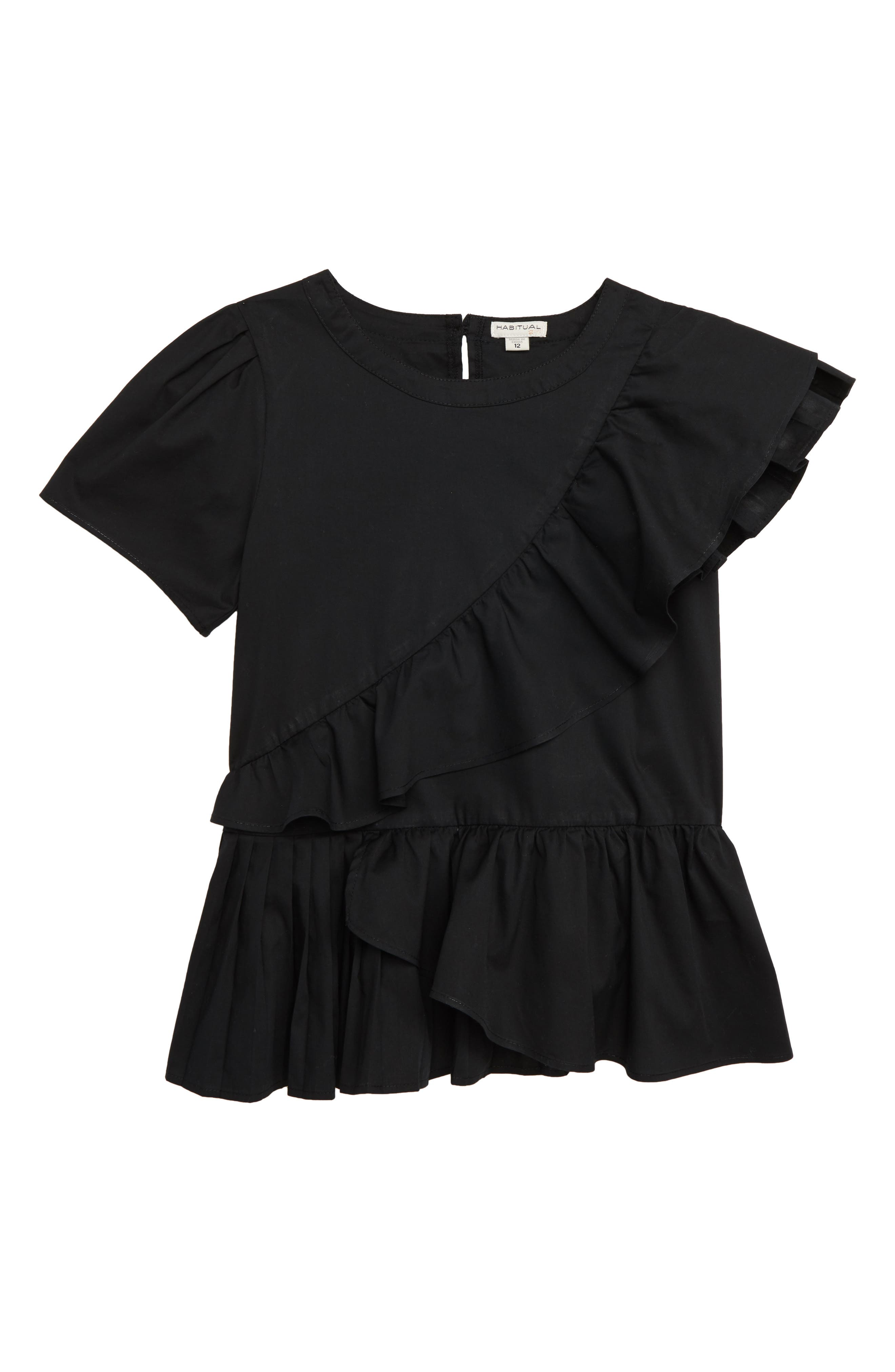 Kids Amber Asymmetrical Ruffle Top, Main, color, BLACK