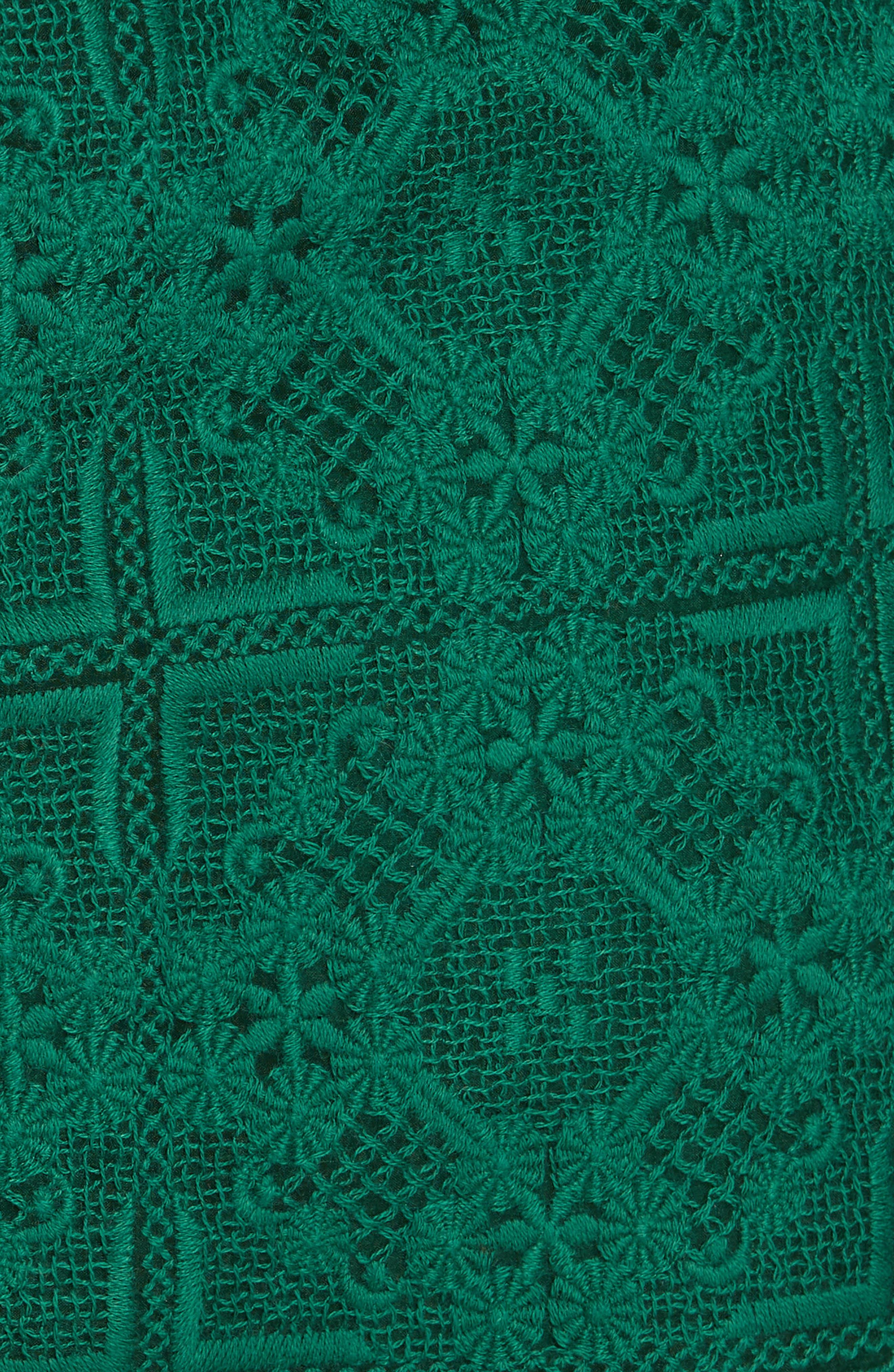 Dylan Frill Neck Lace Dress,                             Alternate thumbnail 5, color,                             VERT