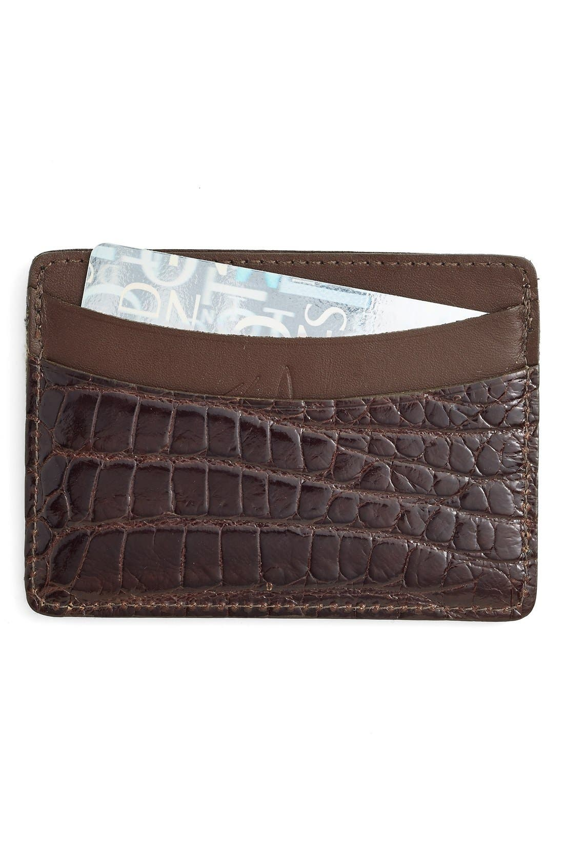 'Joseph' Genuine American Alligator Card Case,                             Main thumbnail 1, color,                             BROWN