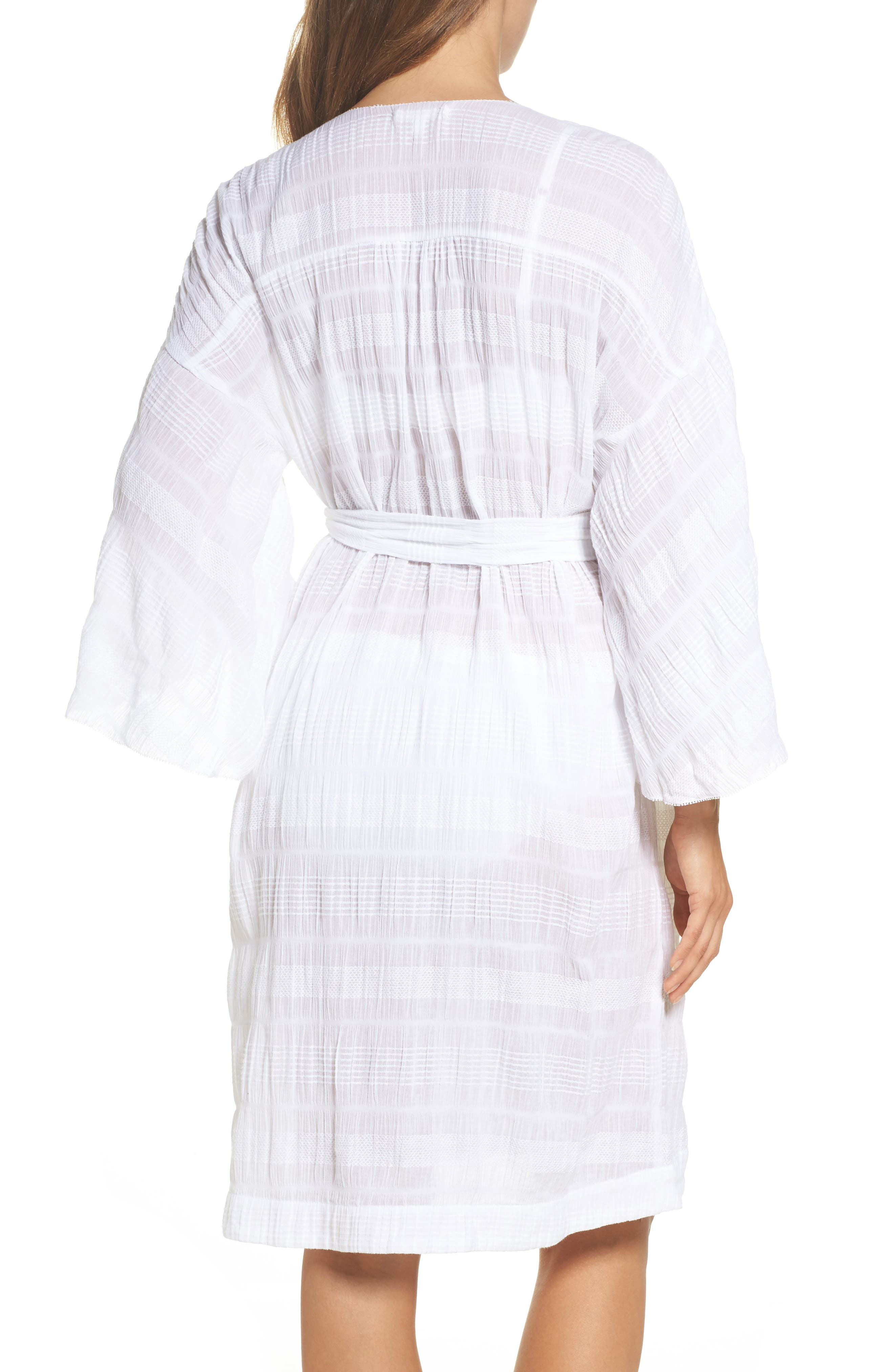 Nina Gauze Short Robe,                             Alternate thumbnail 2, color,                             100