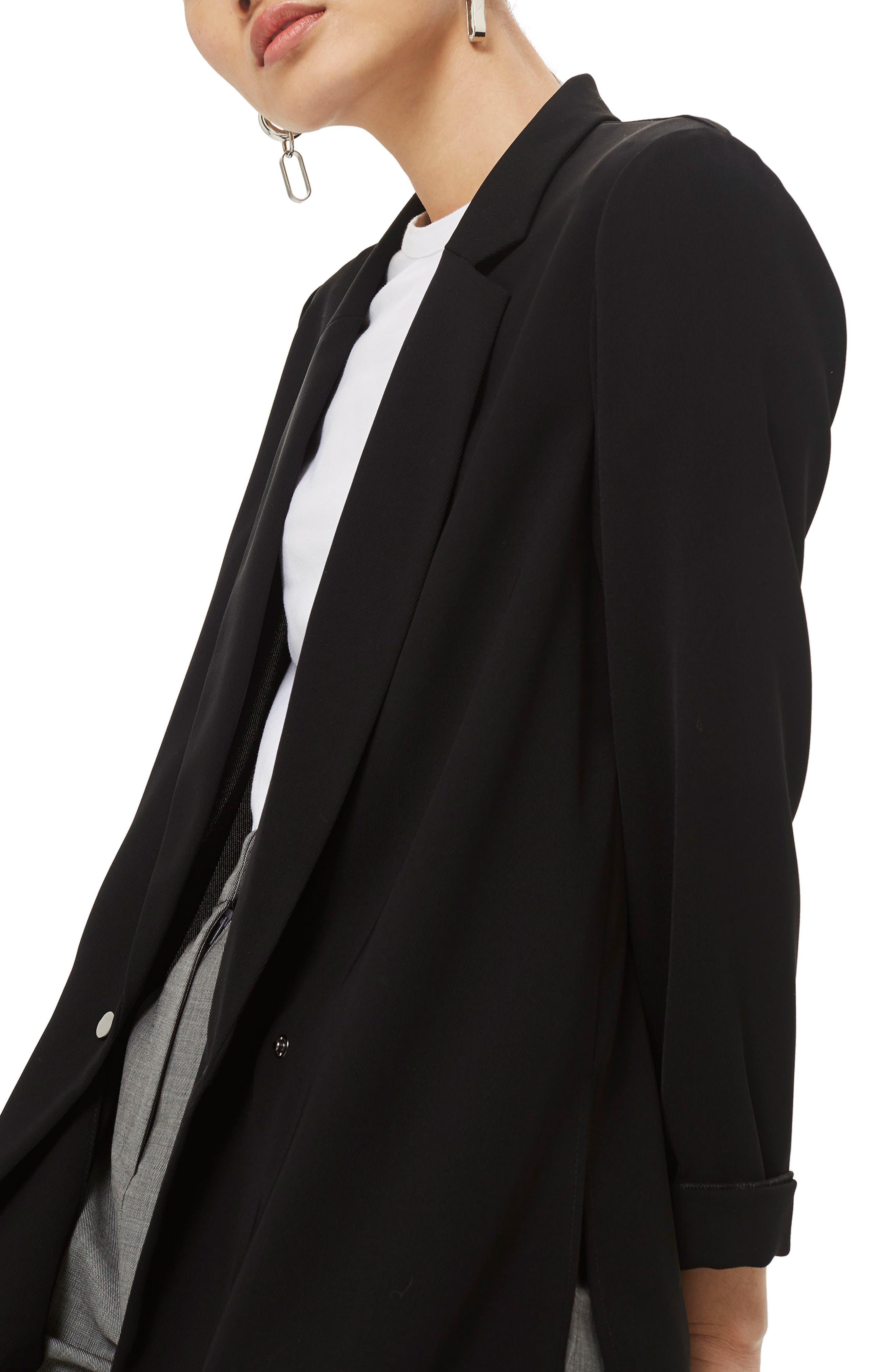 Ava Double Breasted Jacket,                             Main thumbnail 1, color,                             BLACK