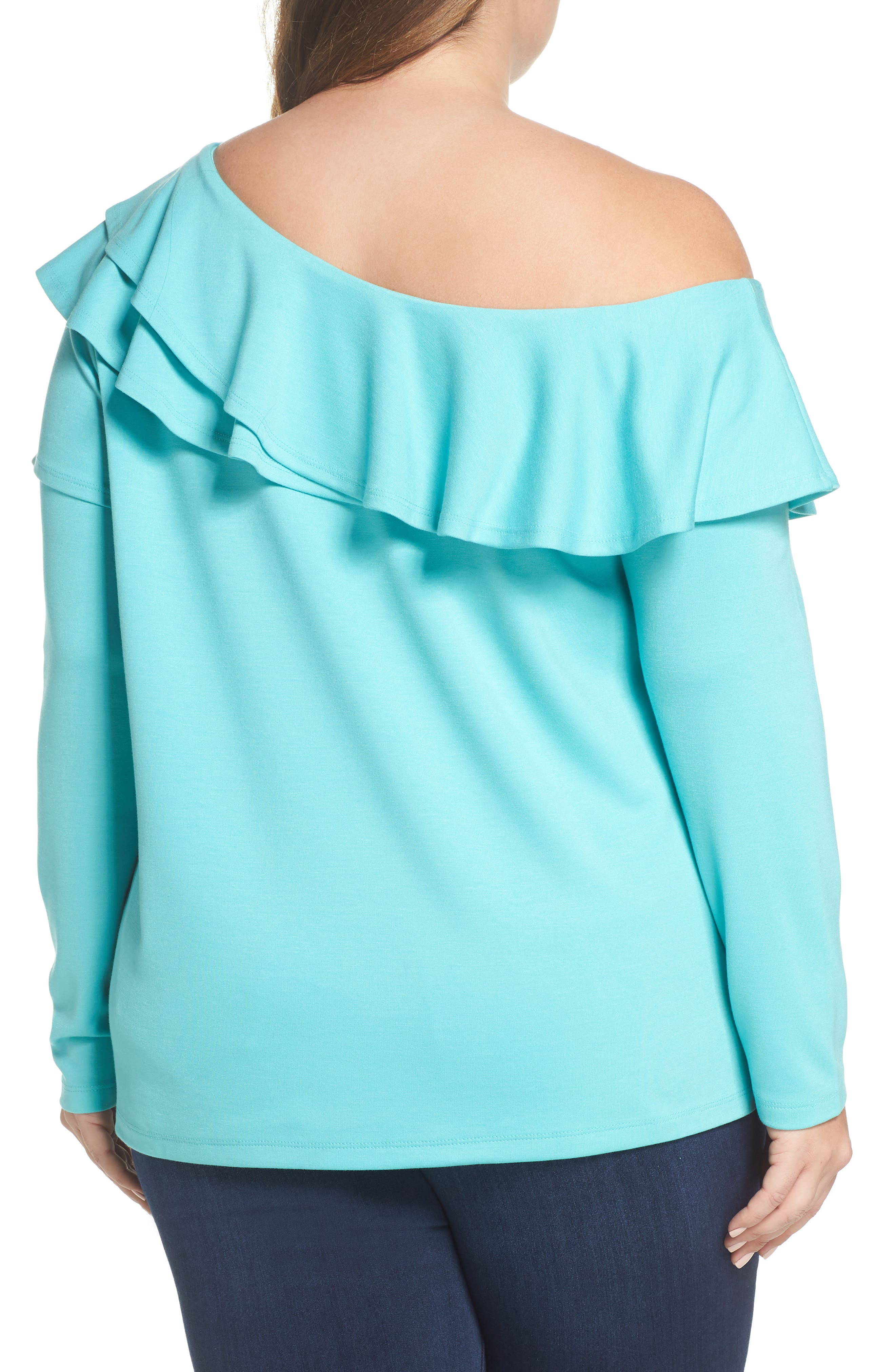 x Living in Yellow Elizabeth One-Shoulder Ruffle Top,                             Alternate thumbnail 7, color,
