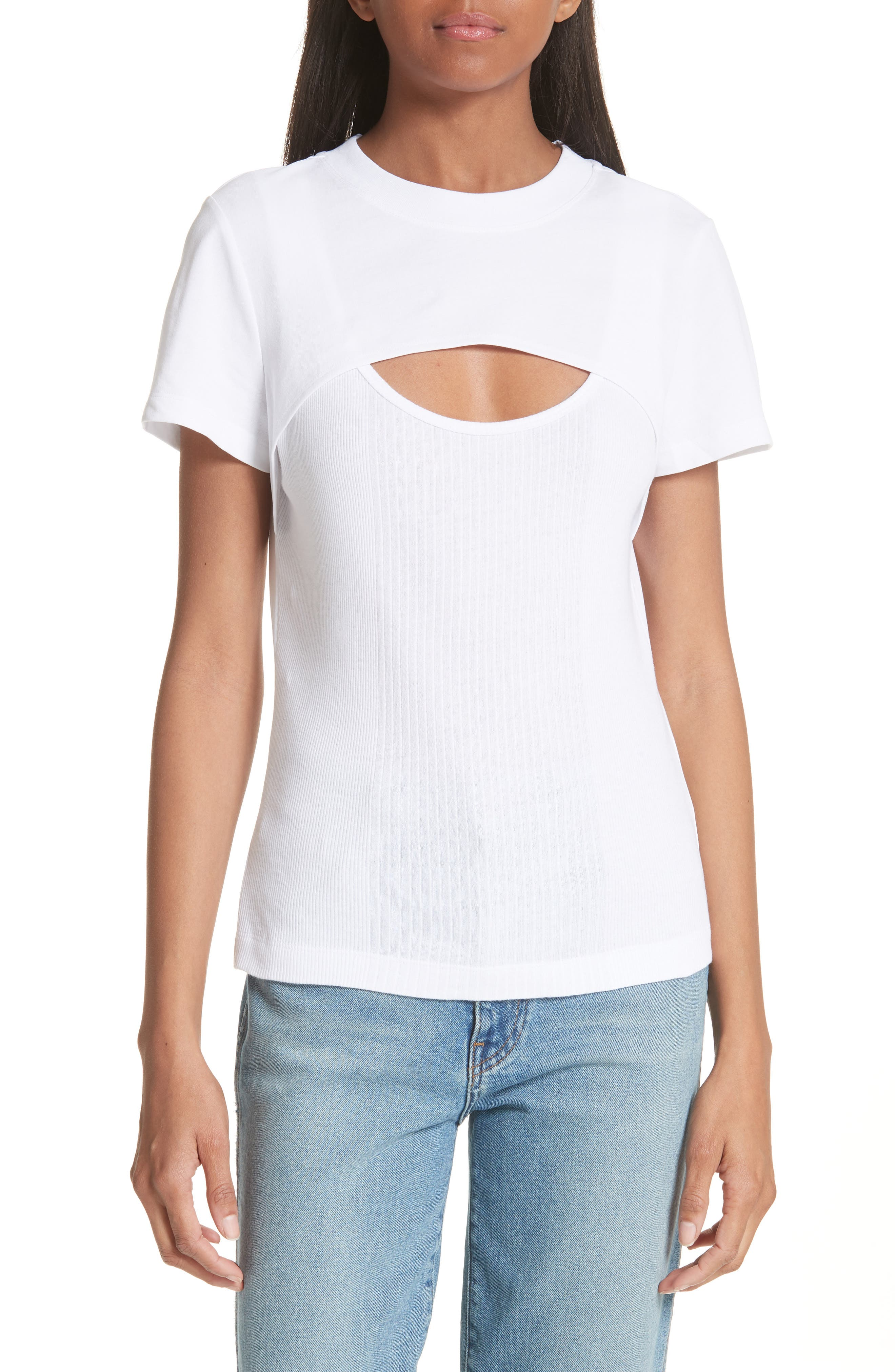 T by Alexander Wang High Twist Rib Combo Top,                         Main,                         color, 100