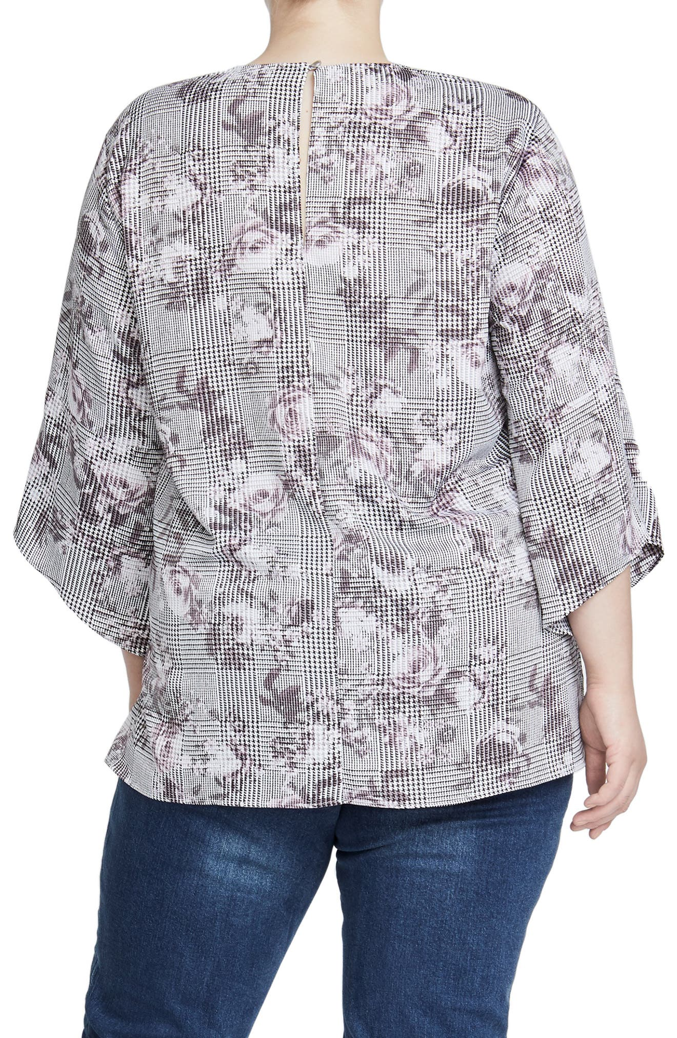 Bell Sleeve Print Top,                             Alternate thumbnail 2, color,                             GREY COMBO