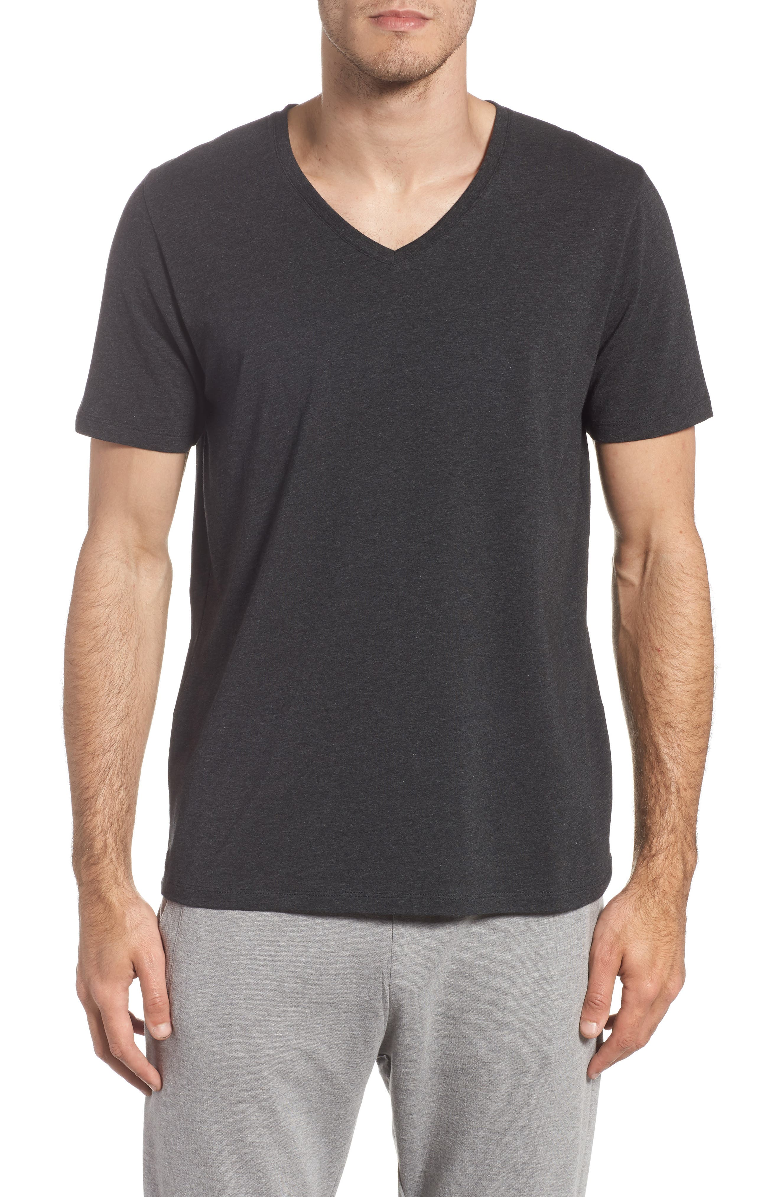 Cotton Blend V-Neck T-Shirt,                         Main,                         color, HEATHER CHARCOAL
