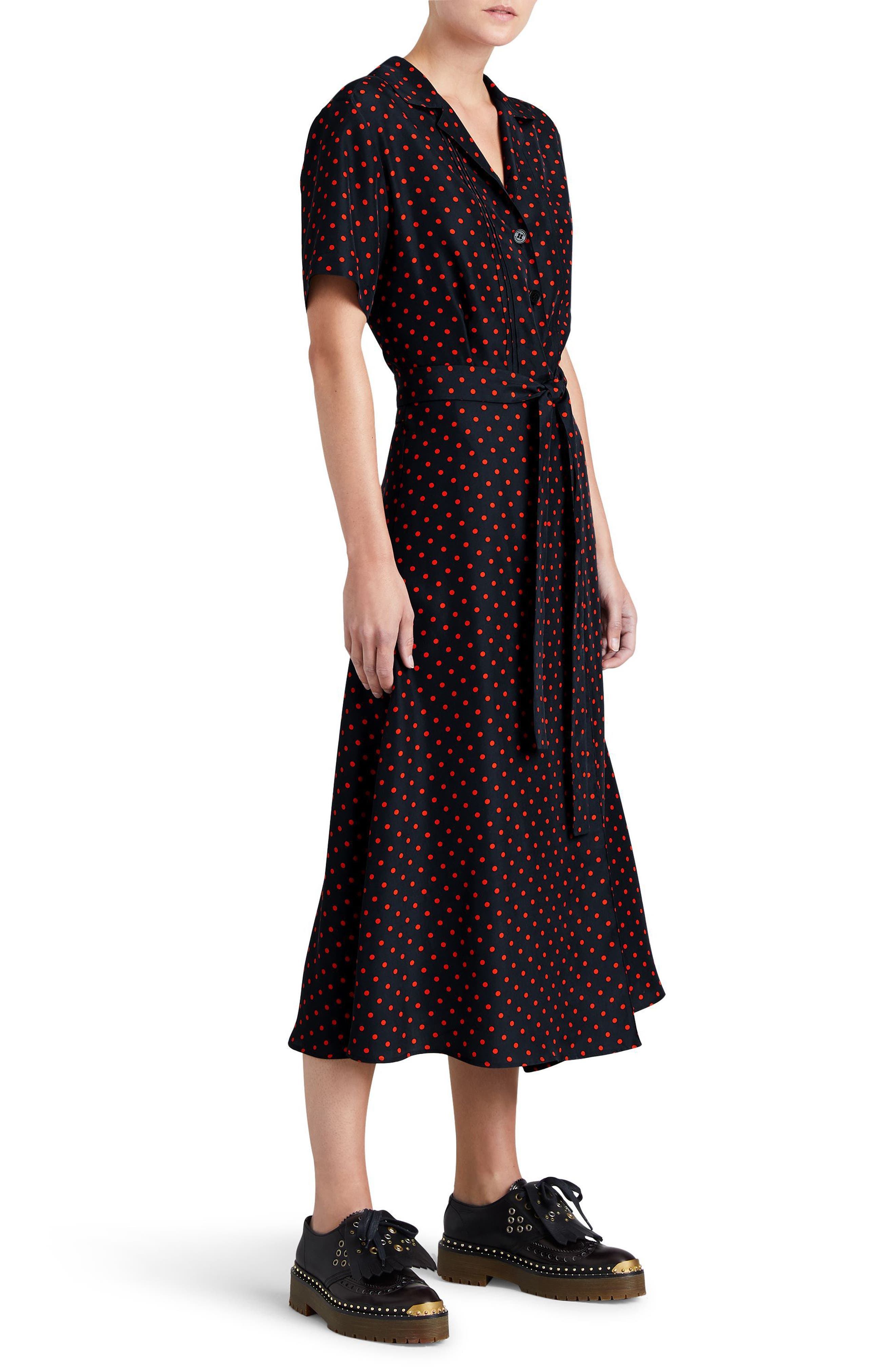 Renata Polka Dot Silk Midi Dress,                             Alternate thumbnail 3, color,                             604
