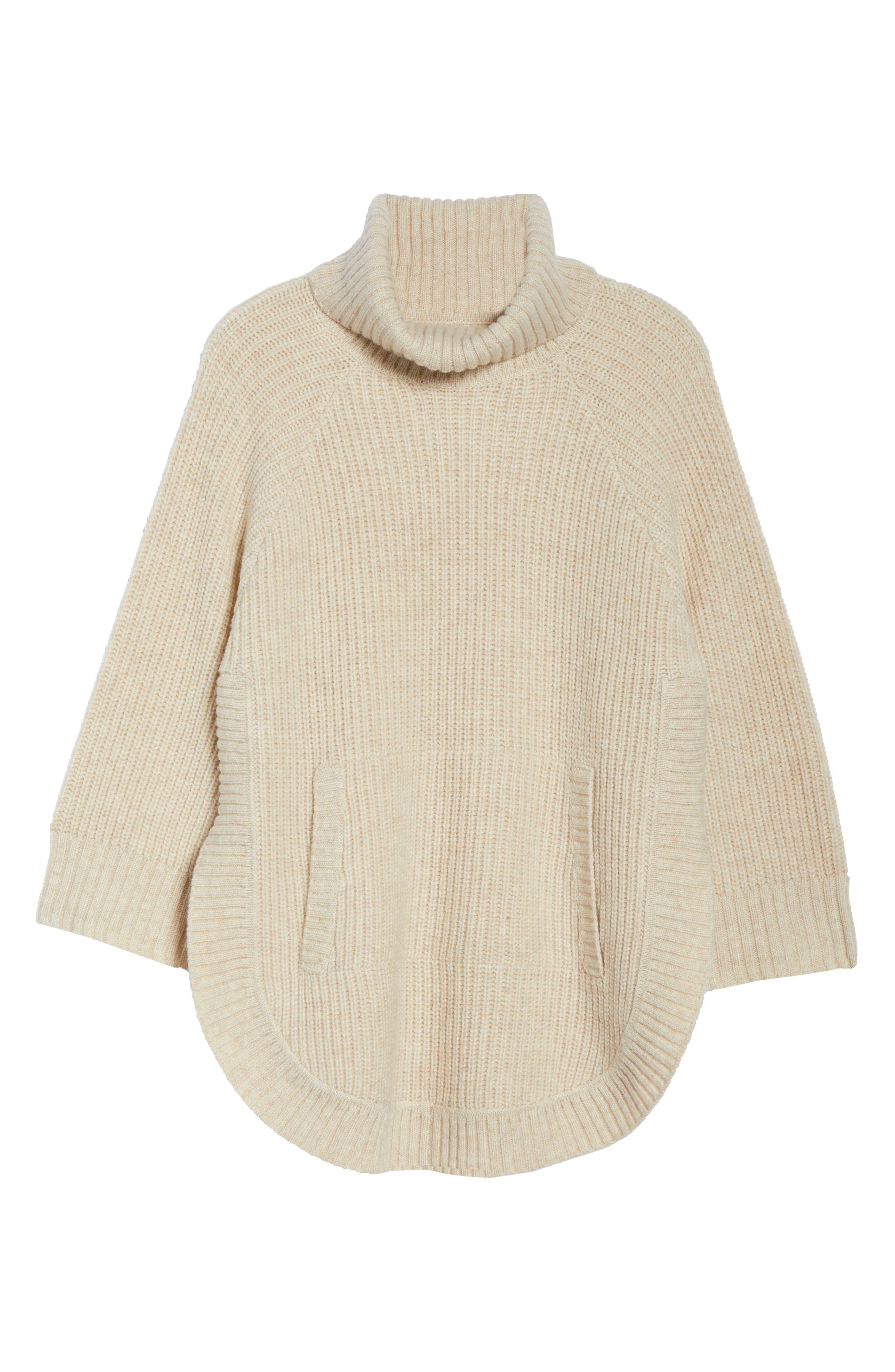 Raelynn Sweater Poncho,                             Alternate thumbnail 6, color,                             CREAM HEATHER