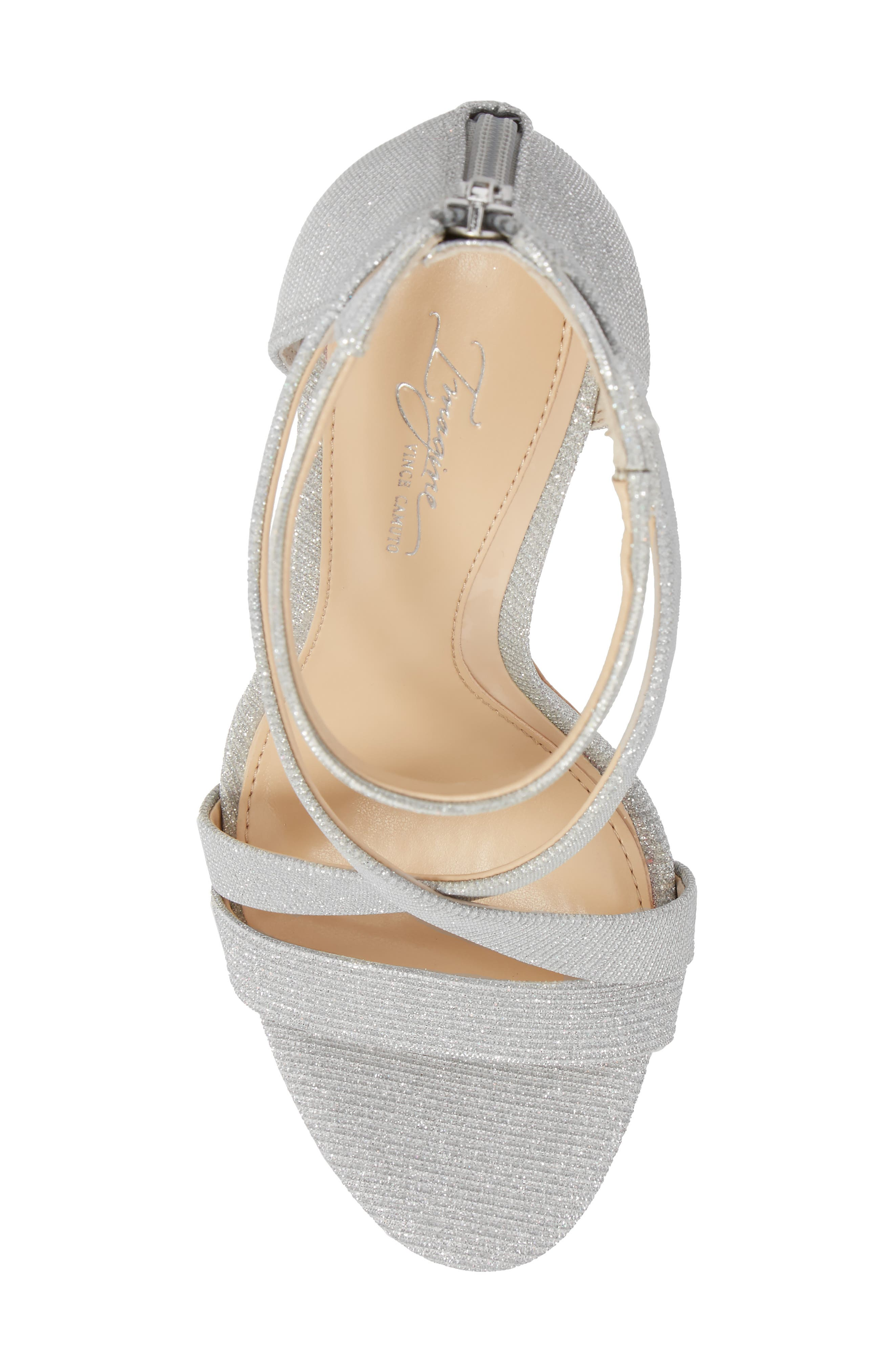 Imagine Vince Camuto 'Devin' Sandal,                             Alternate thumbnail 5, color,                             PLATINUM FABRIC