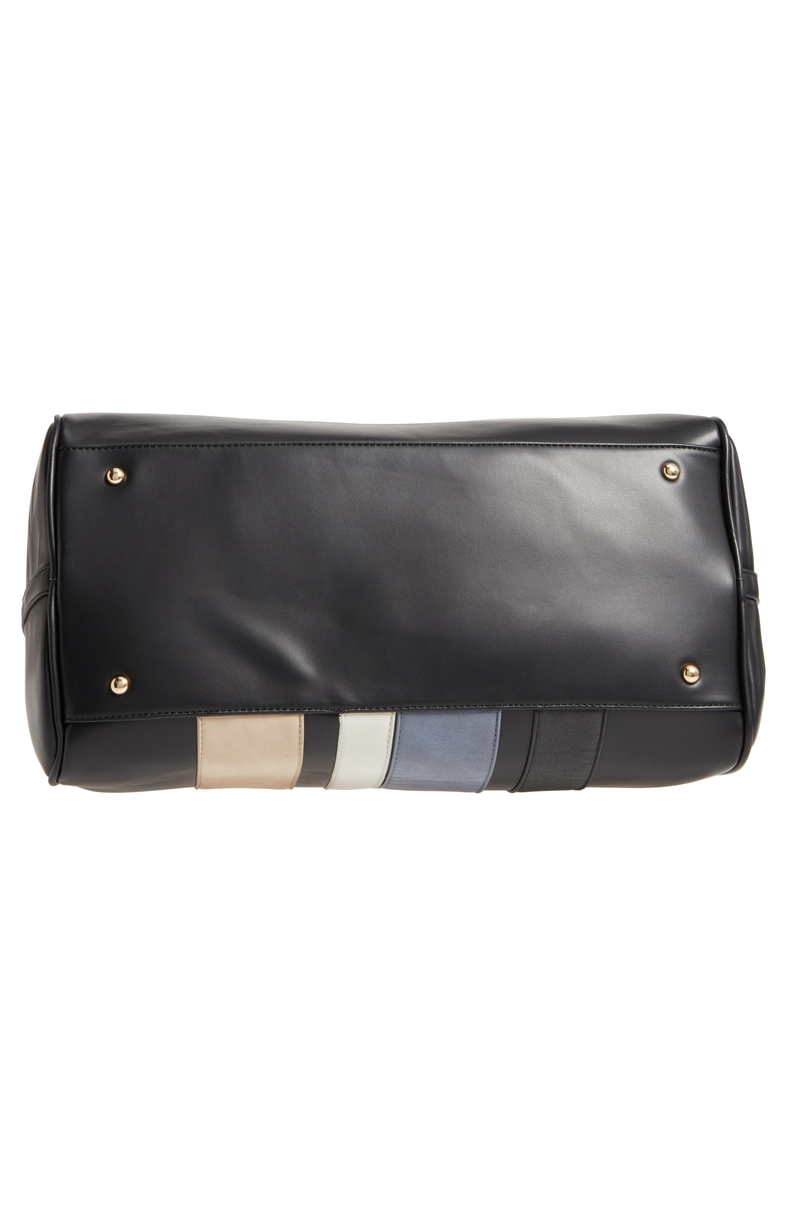 Stripe Faux Leather Duffel Bag,                             Alternate thumbnail 6, color,                             001