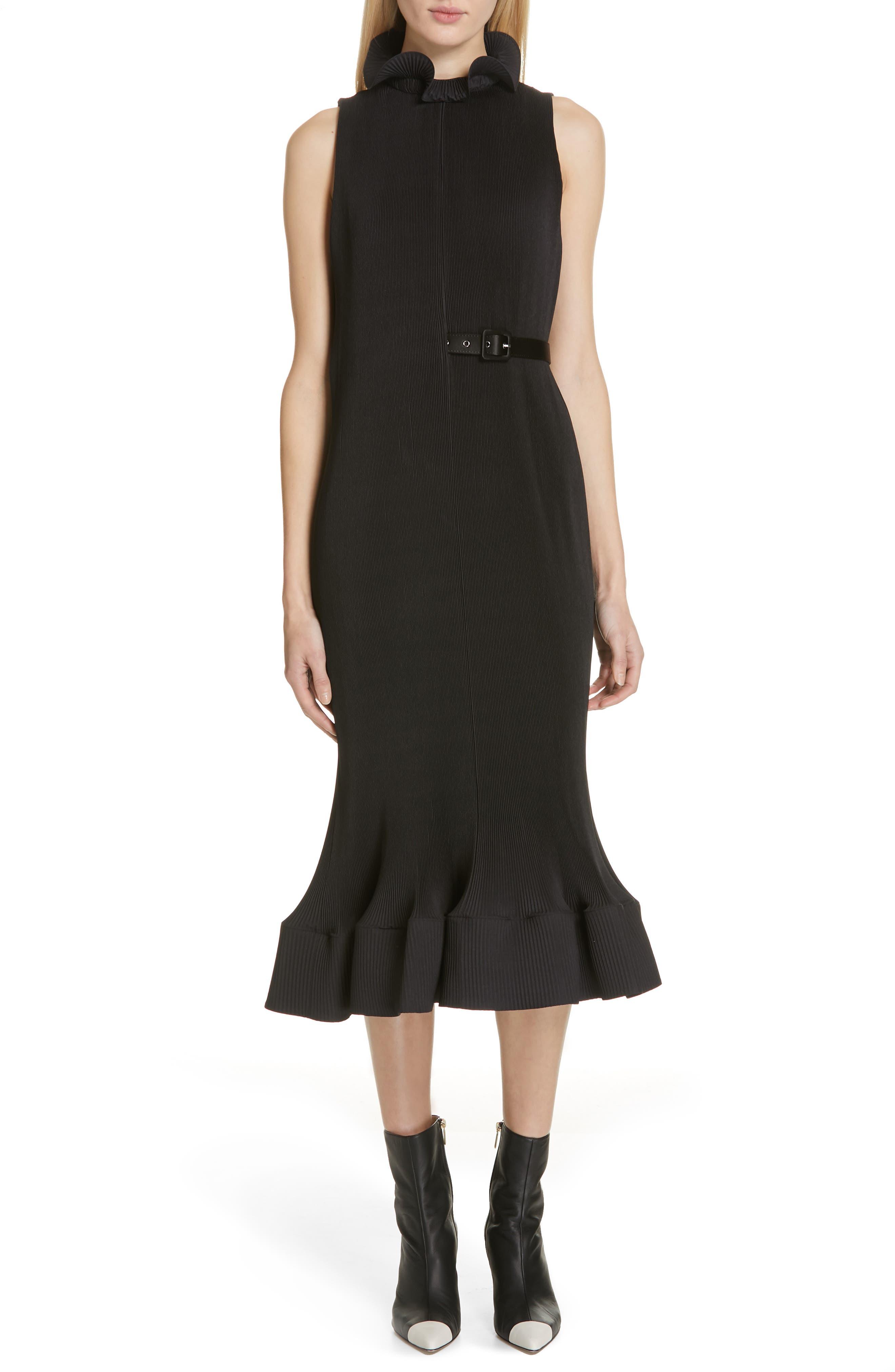 Tibi Plisse Ruffle Hem Sheath Dress, Black