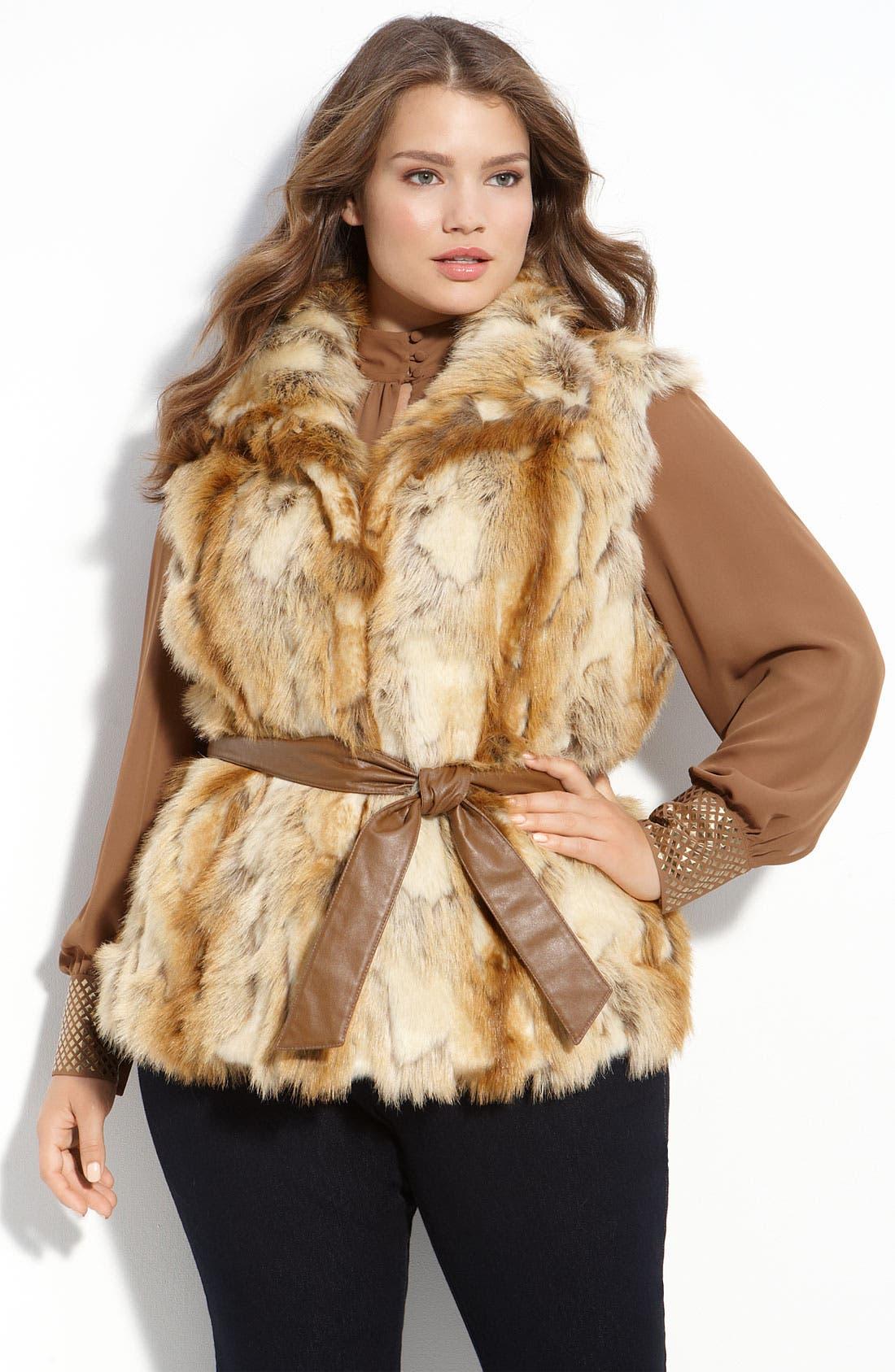 Belted Faux Fur Vest, Main, color, 250