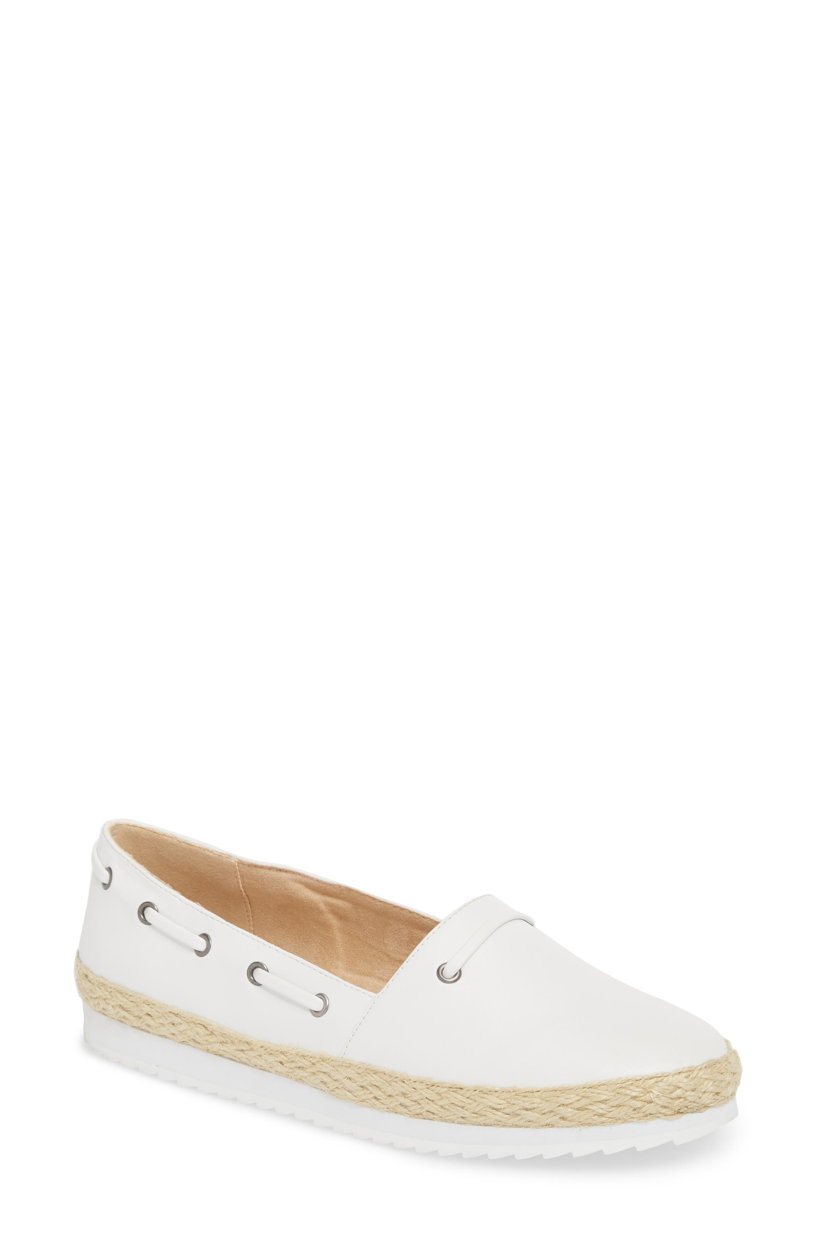 Highlighter Espadrille,                         Main,                         color, WHITE FAUX LEATHER