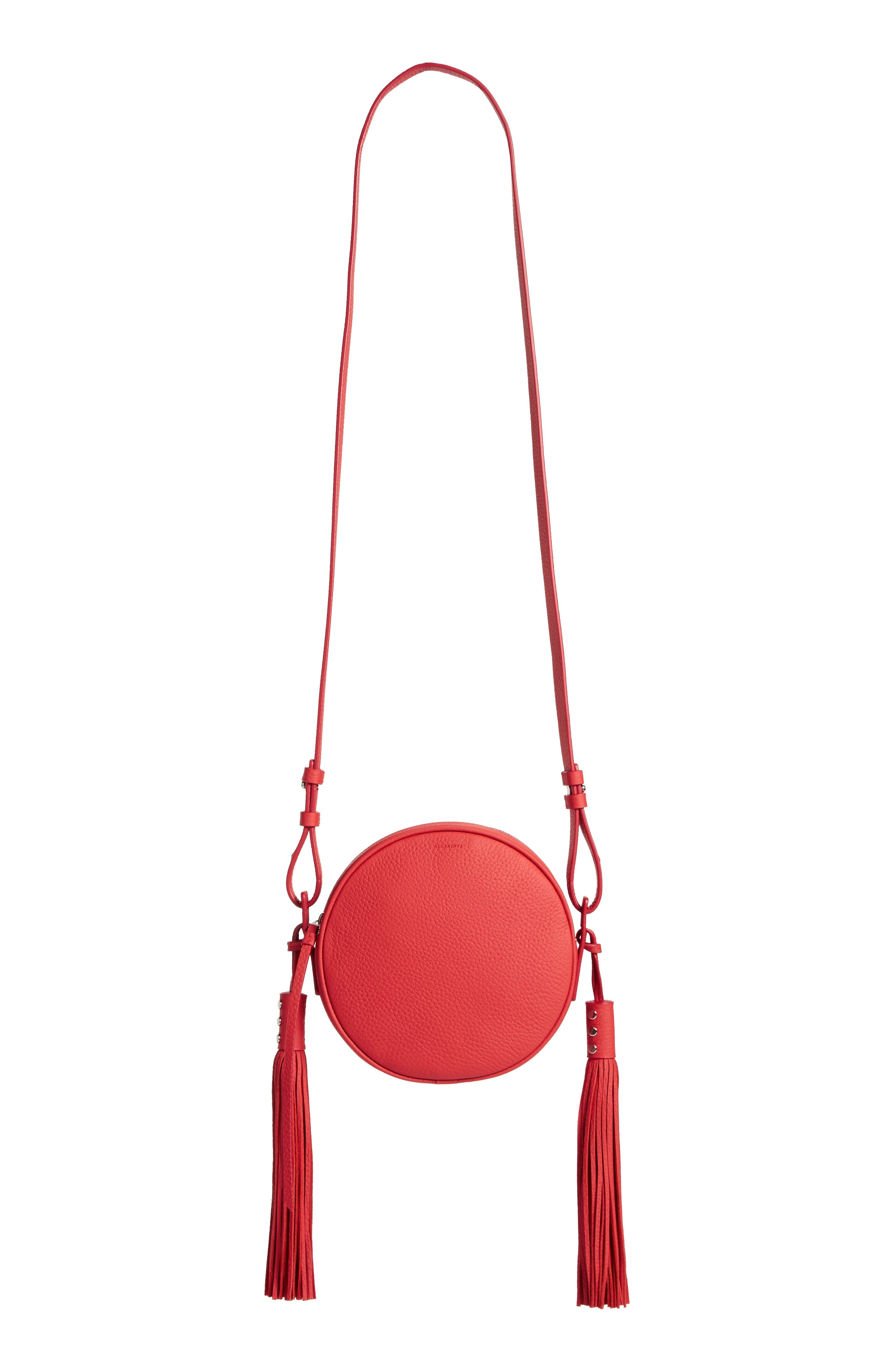 Kepi Circle Leather Crossbody Bag,                         Main,                         color, CORAL RED