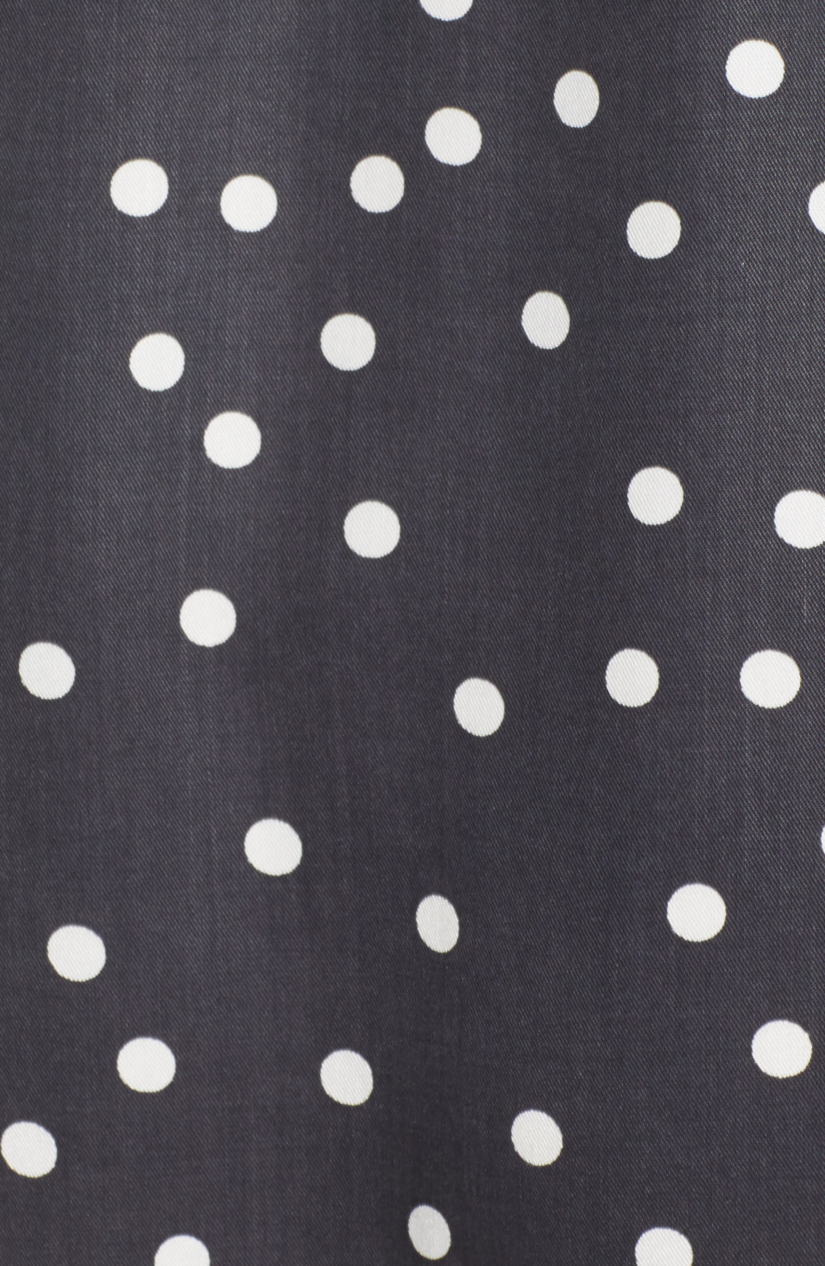 Ainsley Wrap Dress,                             Alternate thumbnail 5, color,                             MIDNIGHT POLKA DOT