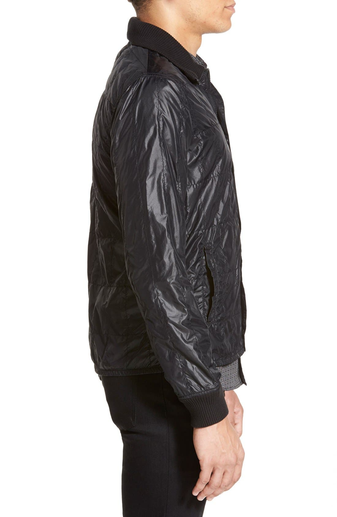 Lightweight Quilted Bomber Jacket,                             Alternate thumbnail 4, color,                             001