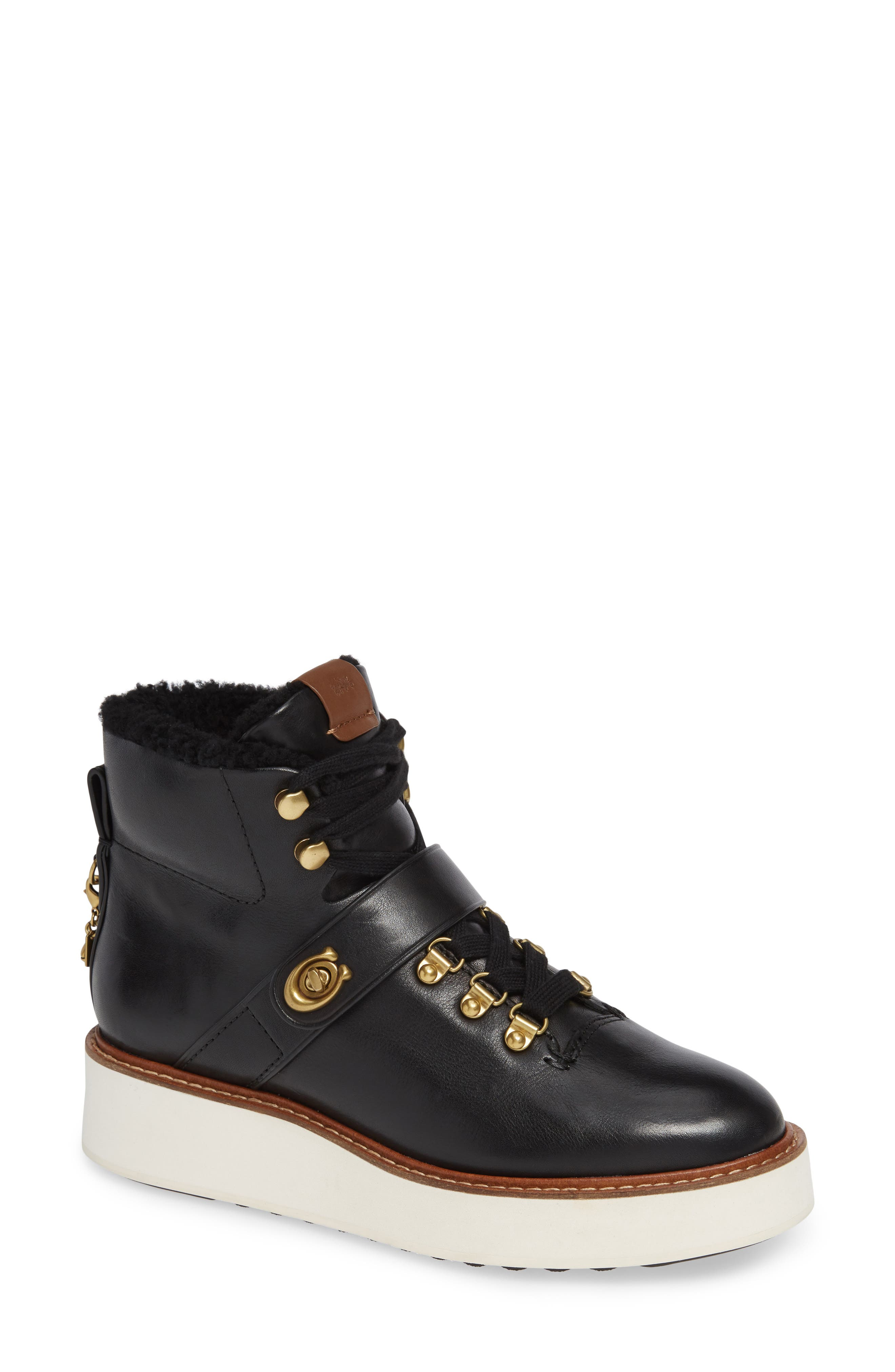 Urban Hiker Genuine Shearling Lined Bootie, Main, color, 001