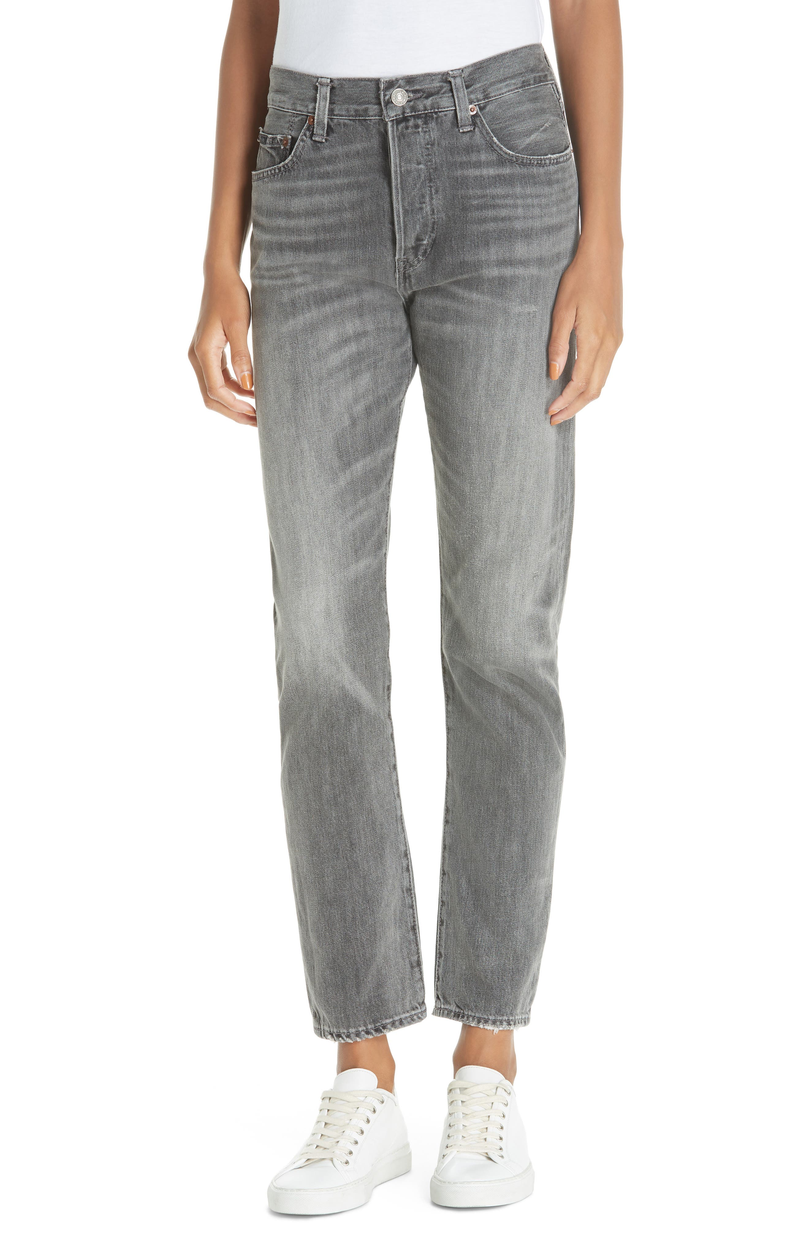 High Waist Slim Straight Crop Jeans,                         Main,                         color, GREY