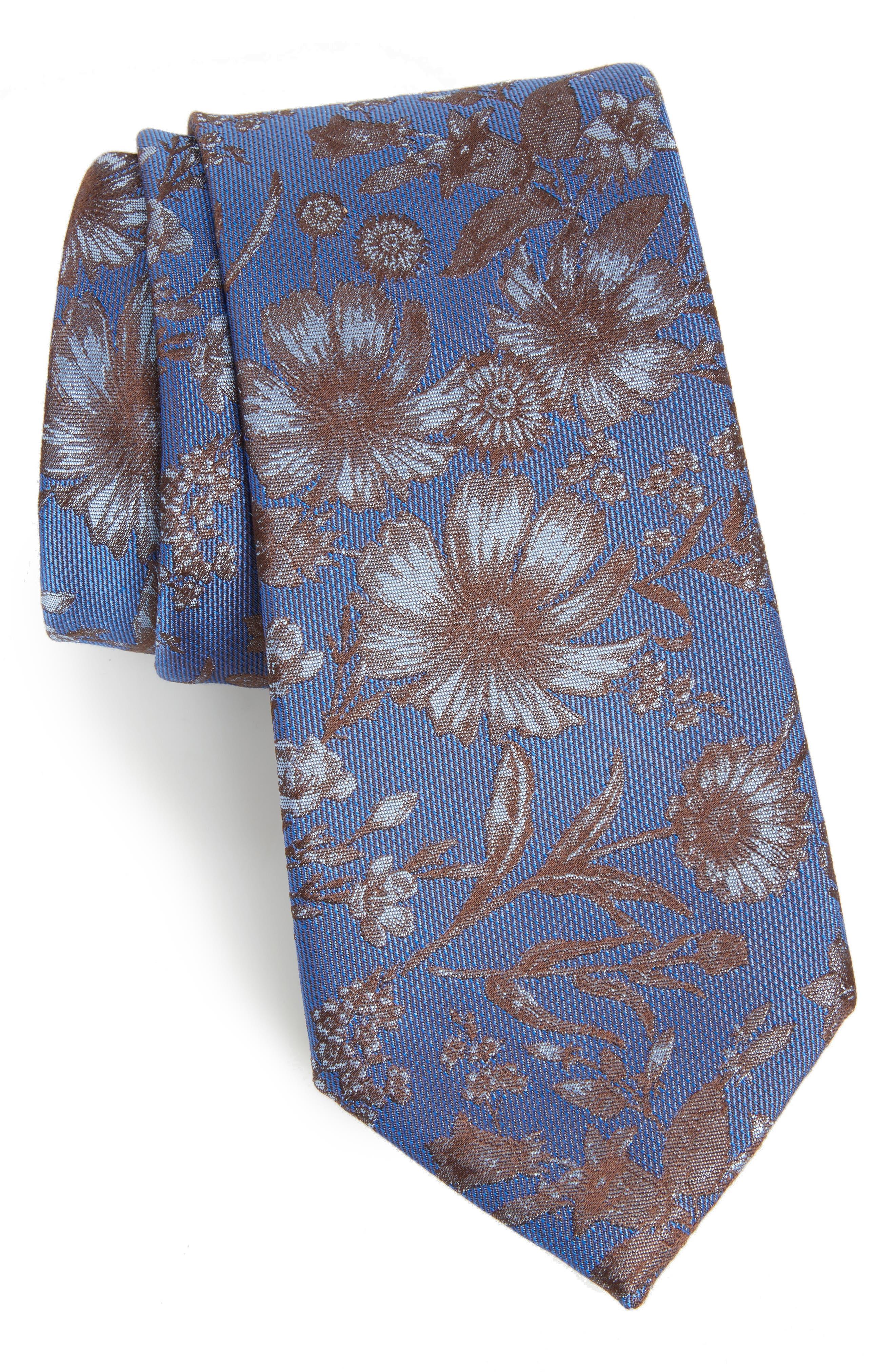 Fletcher Floral Print Silk & Cotton Tie,                         Main,                         color, 432