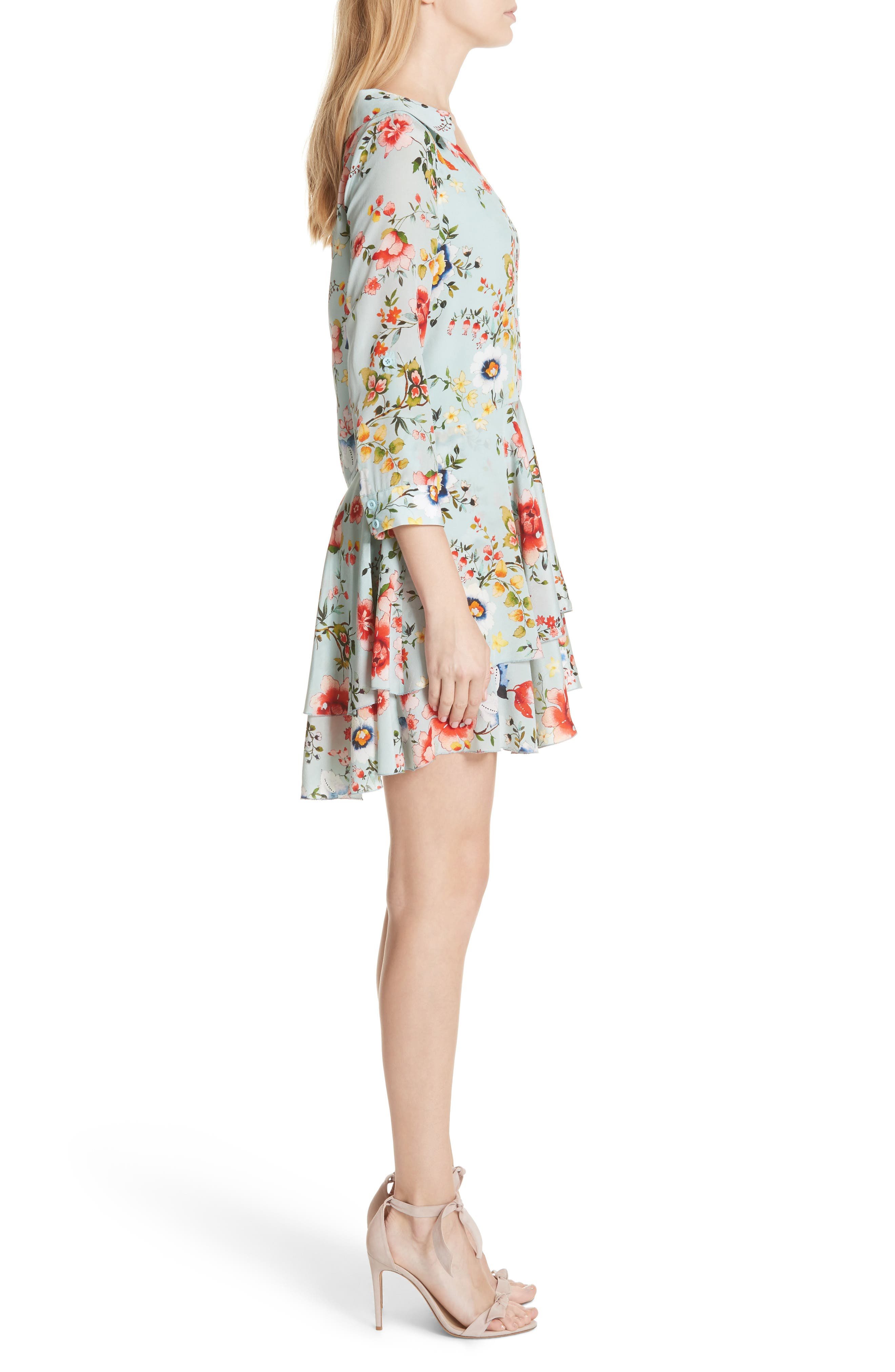 Moore Floral Silk Tunic Dress,                             Alternate thumbnail 3, color,                             474