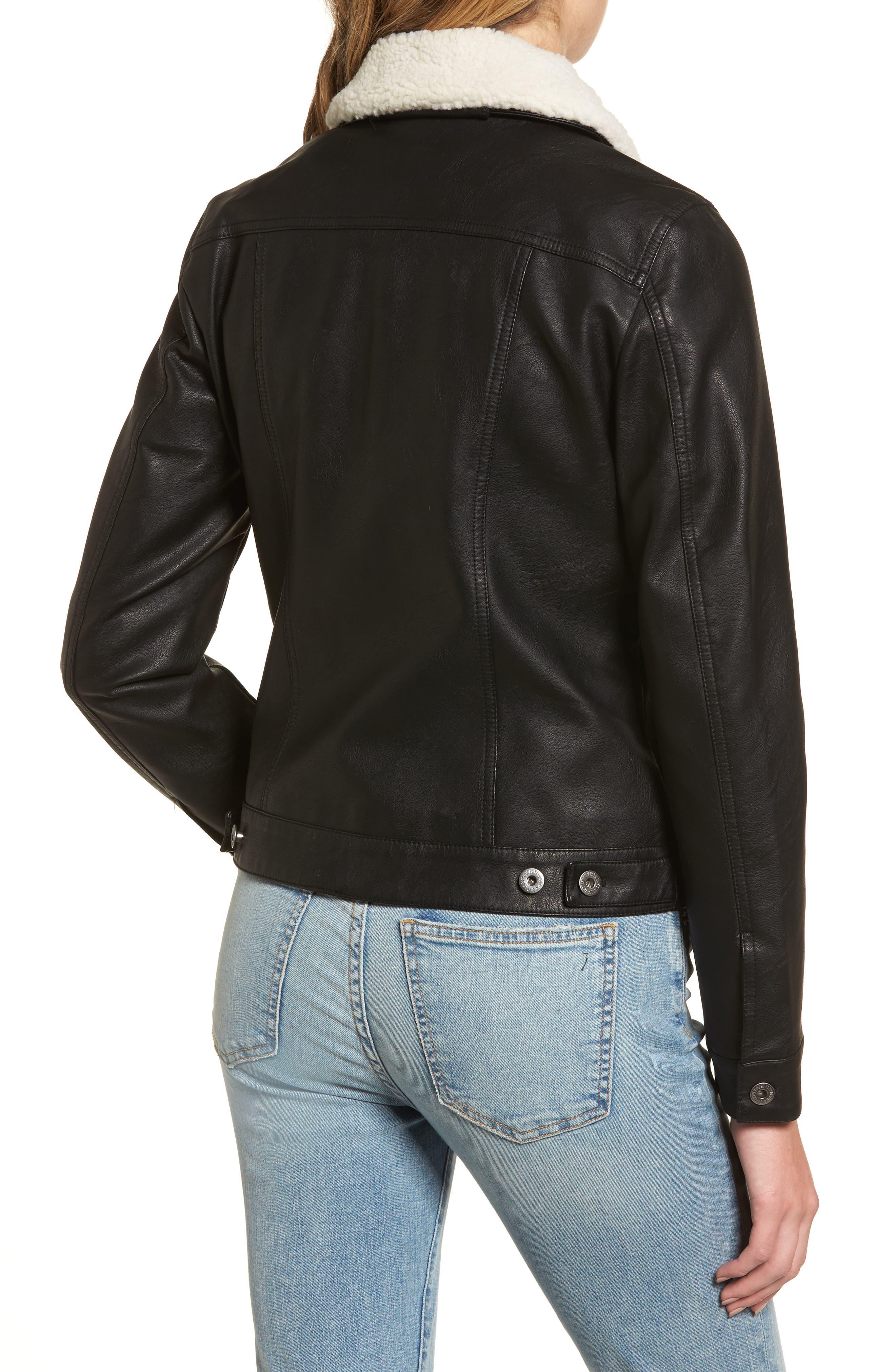Faux Leather Jacket with Detachable Faux Fur,                             Alternate thumbnail 2, color,
