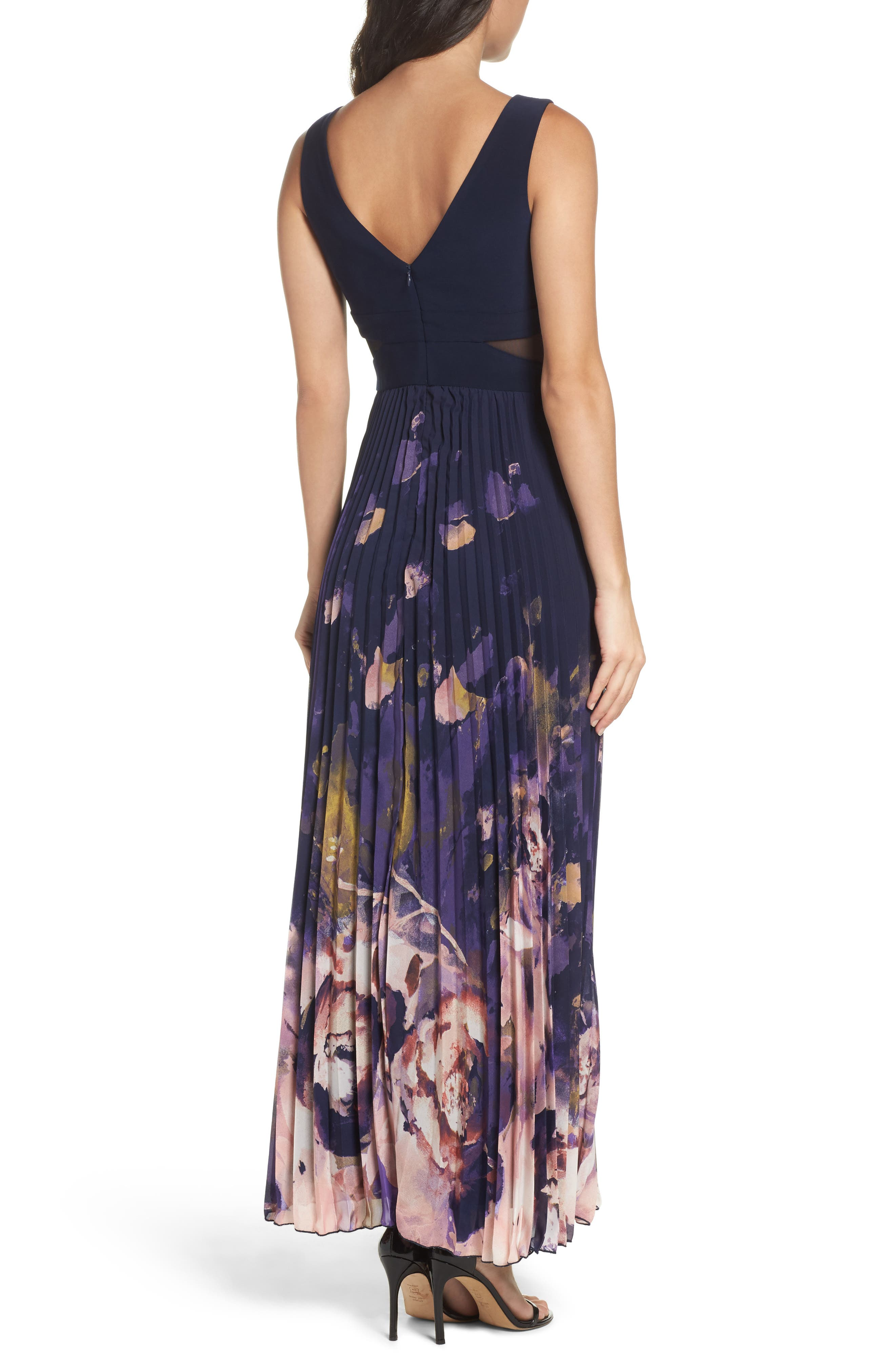 Floral Border A-Line Chiffon Gown,                             Alternate thumbnail 2, color,                             488