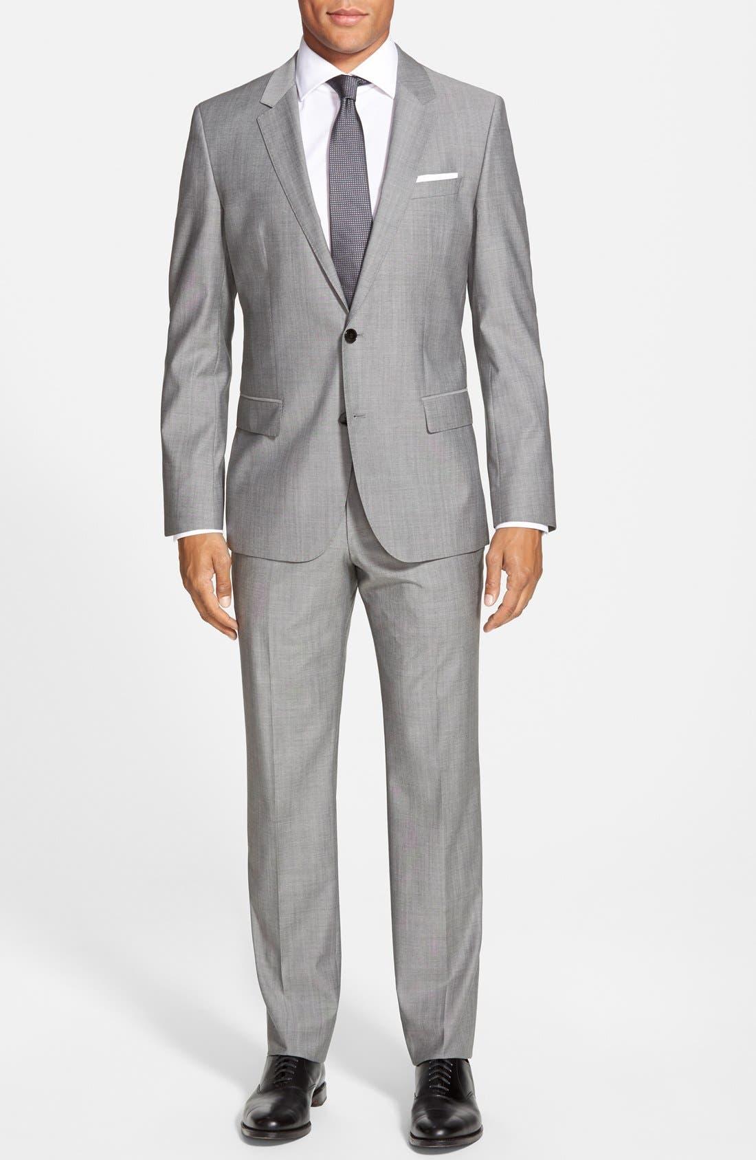 'Huge/Genius' Trim Fit Solid Wool Suit,                         Main,                         color, PEARL GREY