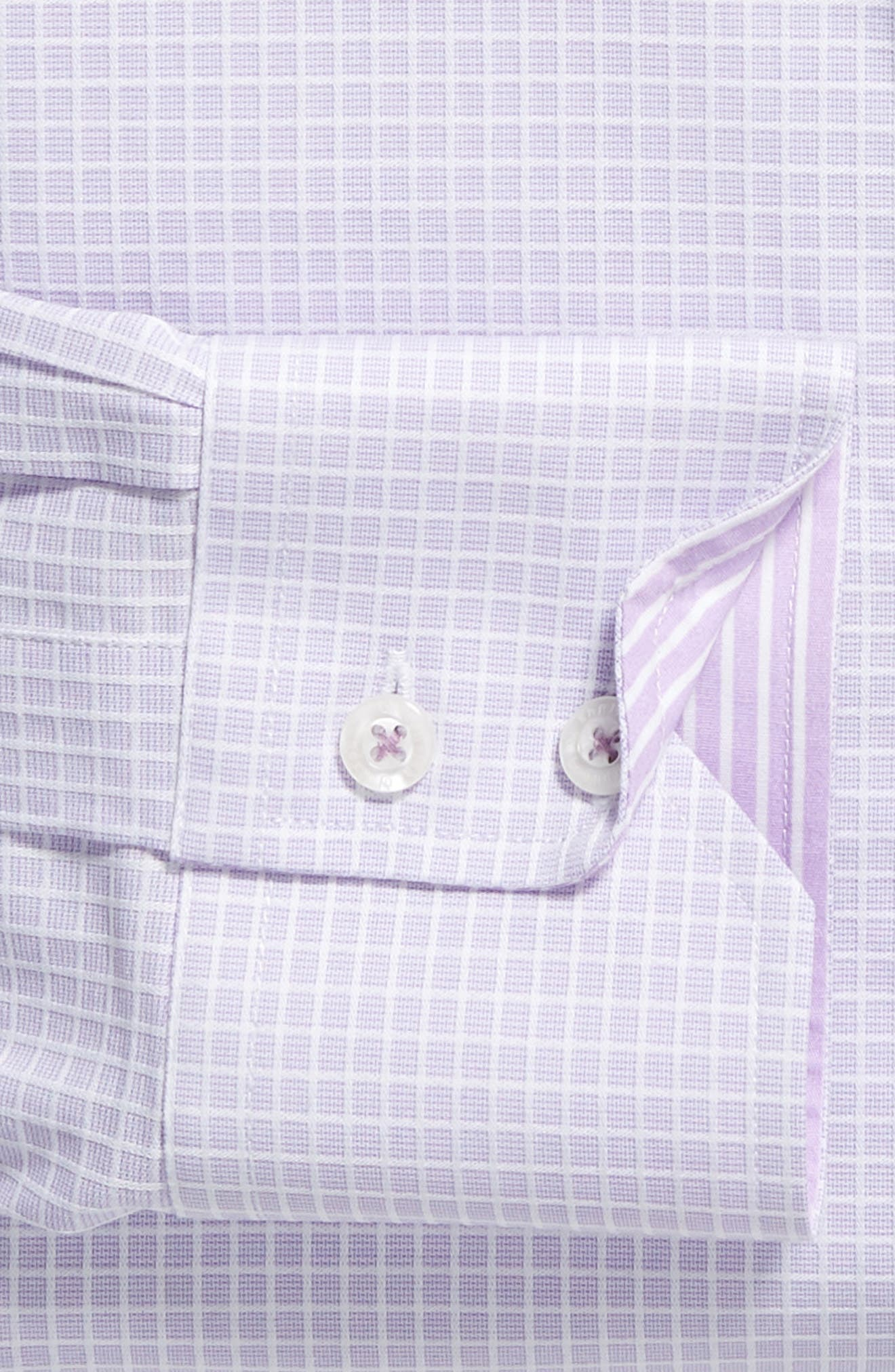 Trim Fit Stretch Check Dress Shirt,                             Alternate thumbnail 6, color,                             LILAC