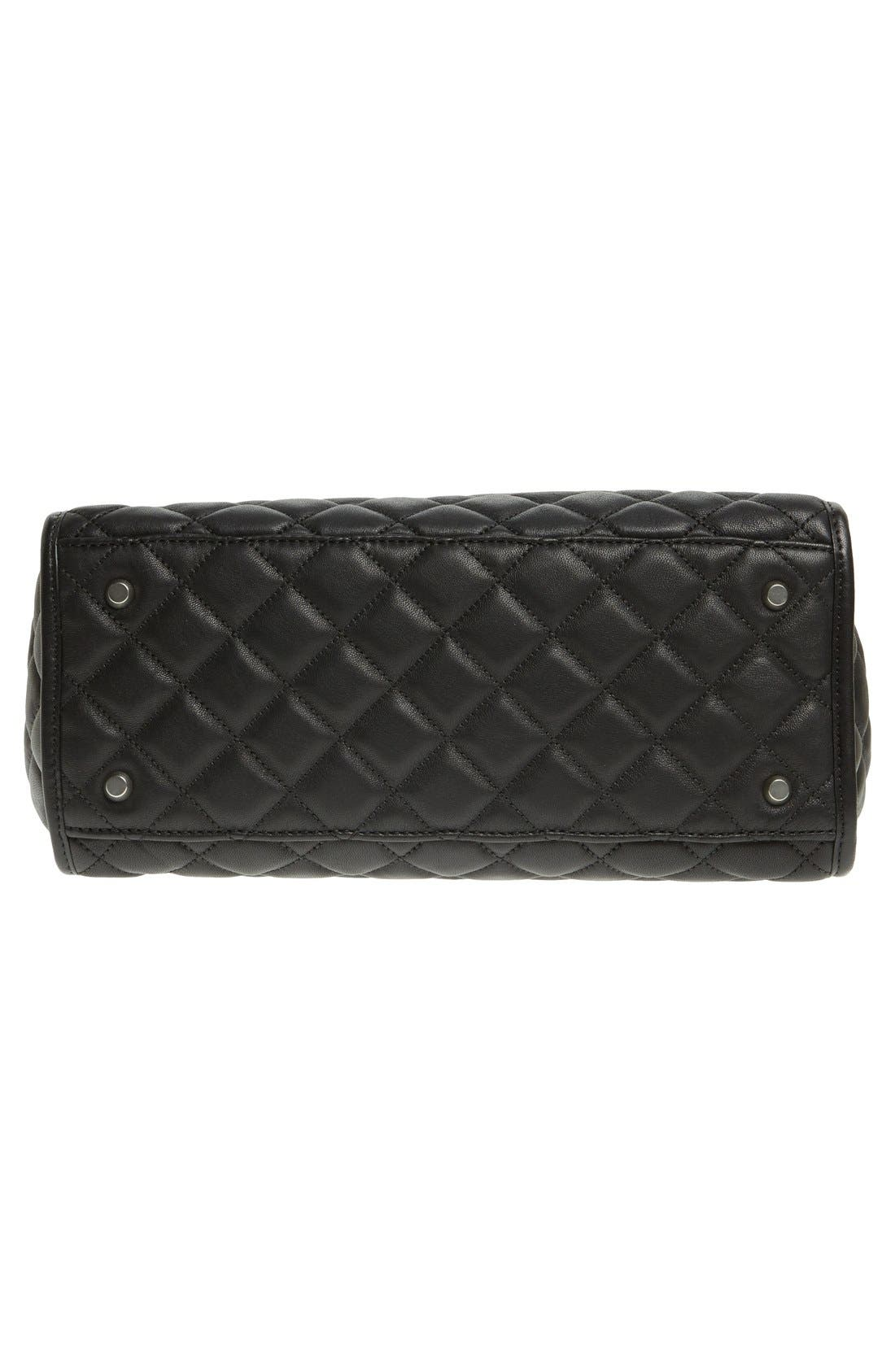 'Rachel - Large' Quilted Leather Satchel,                             Alternate thumbnail 3, color,                             001