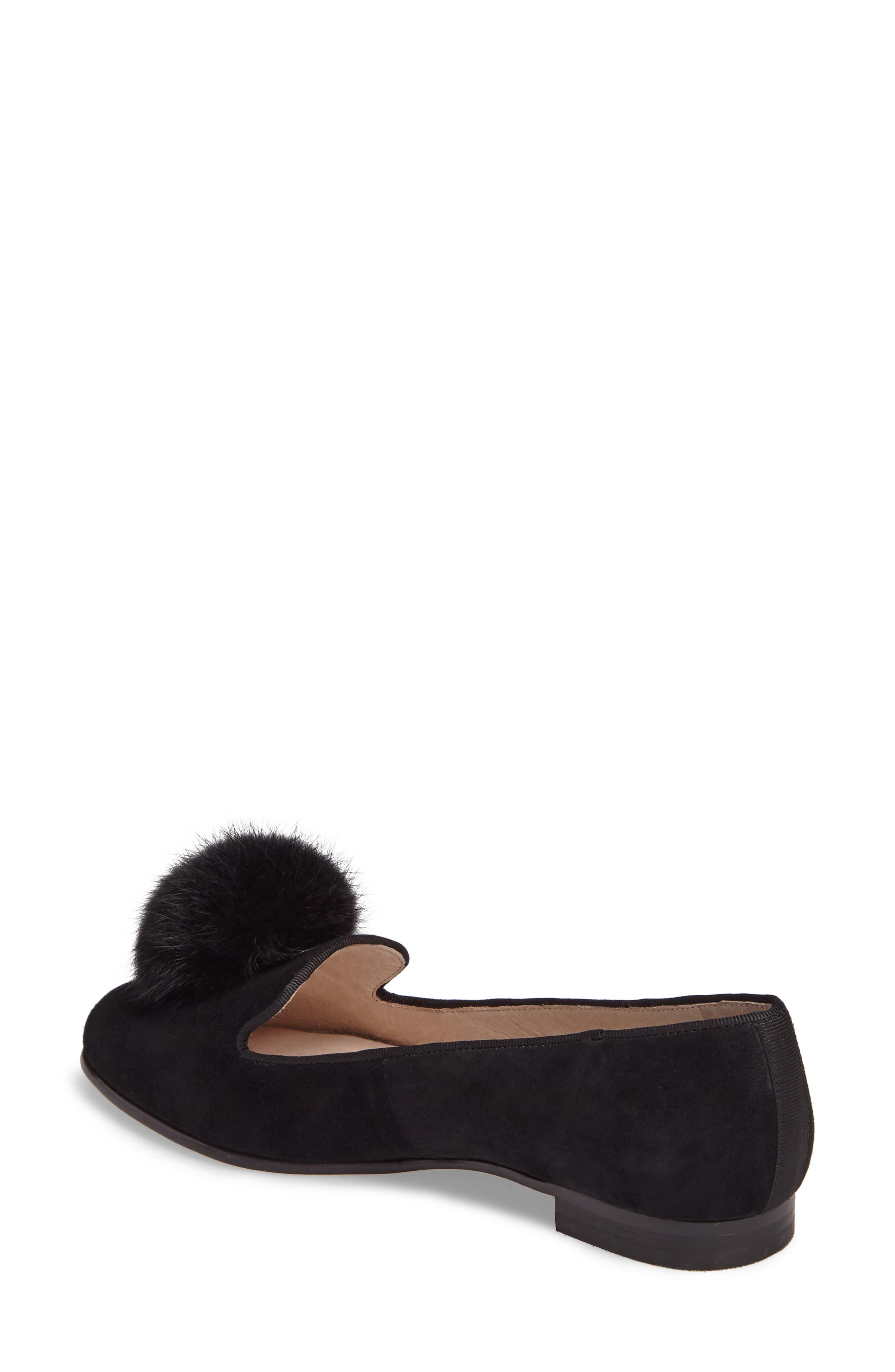 Andres Genuine Rabbit Fur Pom Loafer,                             Alternate thumbnail 2, color,                             BLACK SUEDE