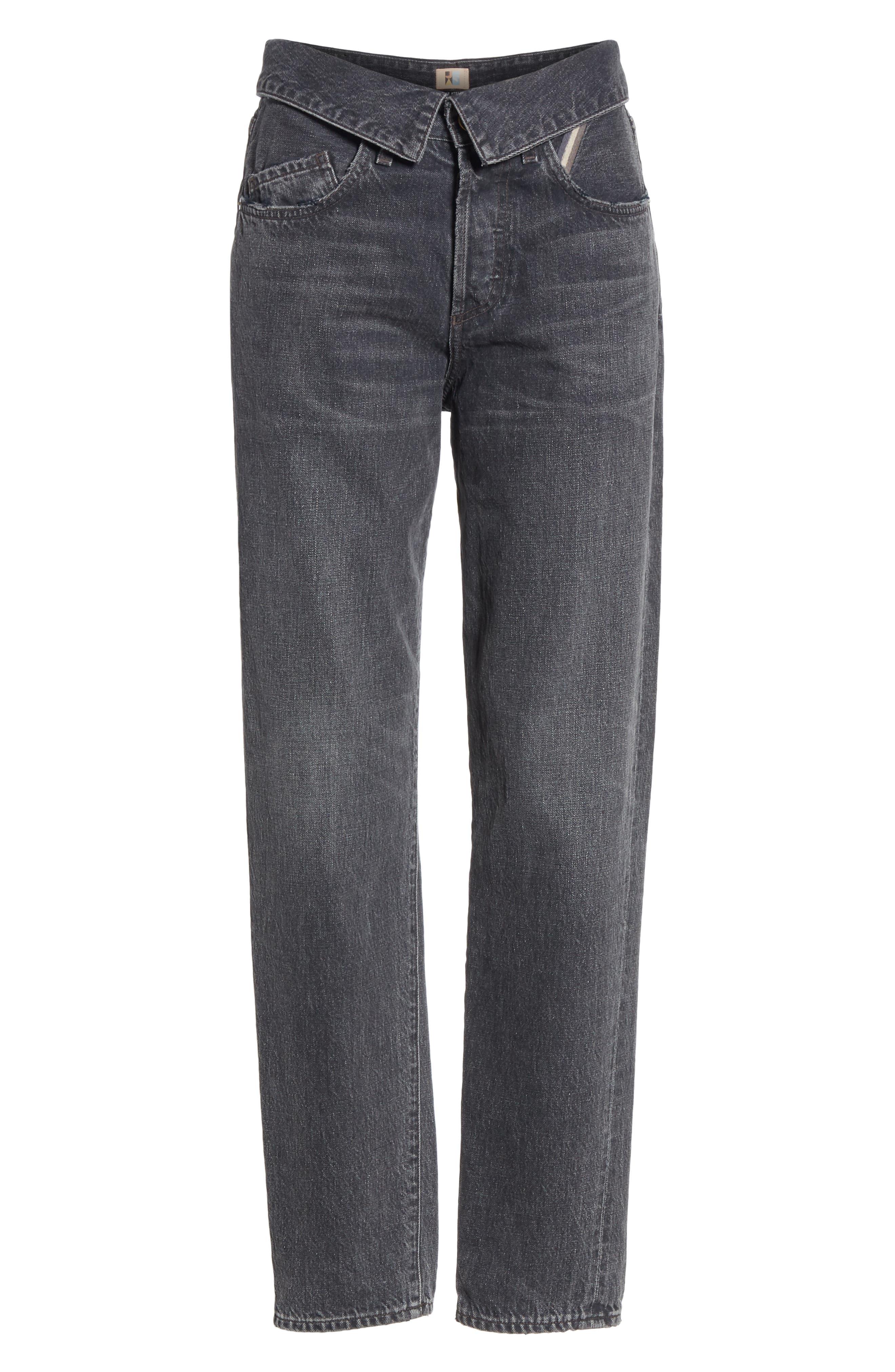 JEAN ATELIER,                             Flip Straight Leg Jeans,                             Alternate thumbnail 6, color,                             ONYX