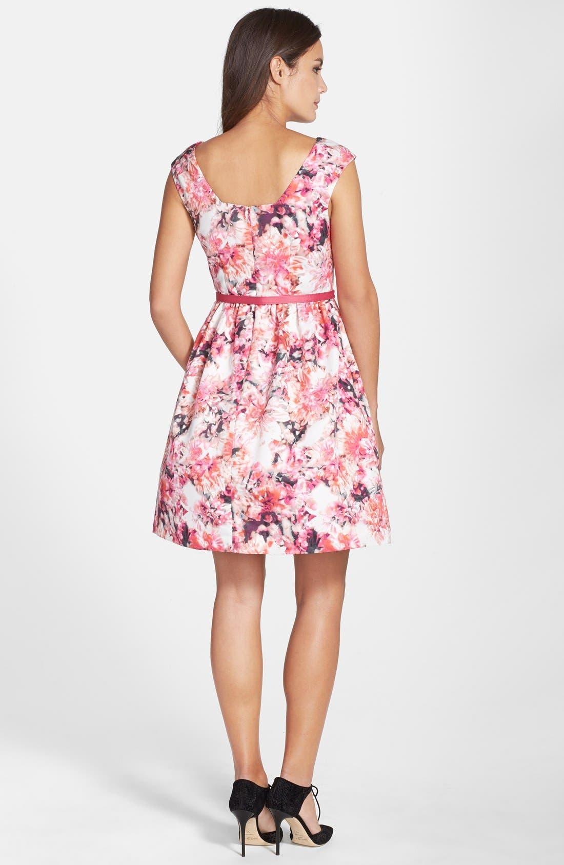 Belted Print Faille Fit & Flare Dress,                             Alternate thumbnail 2, color,                             660
