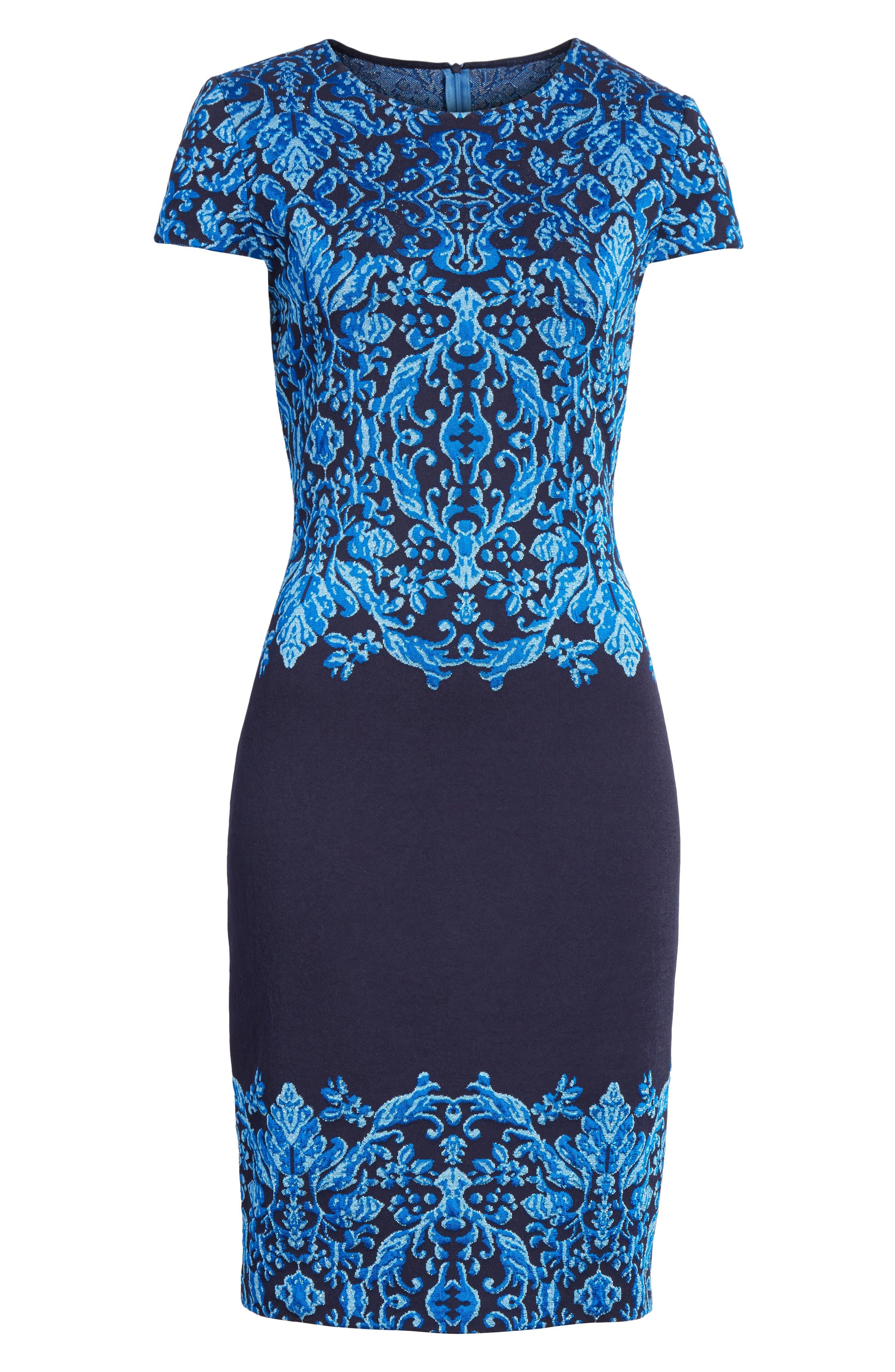 Cool Tones Brocade Knit Dress,                             Alternate thumbnail 7, color,                             COBALT MULTI