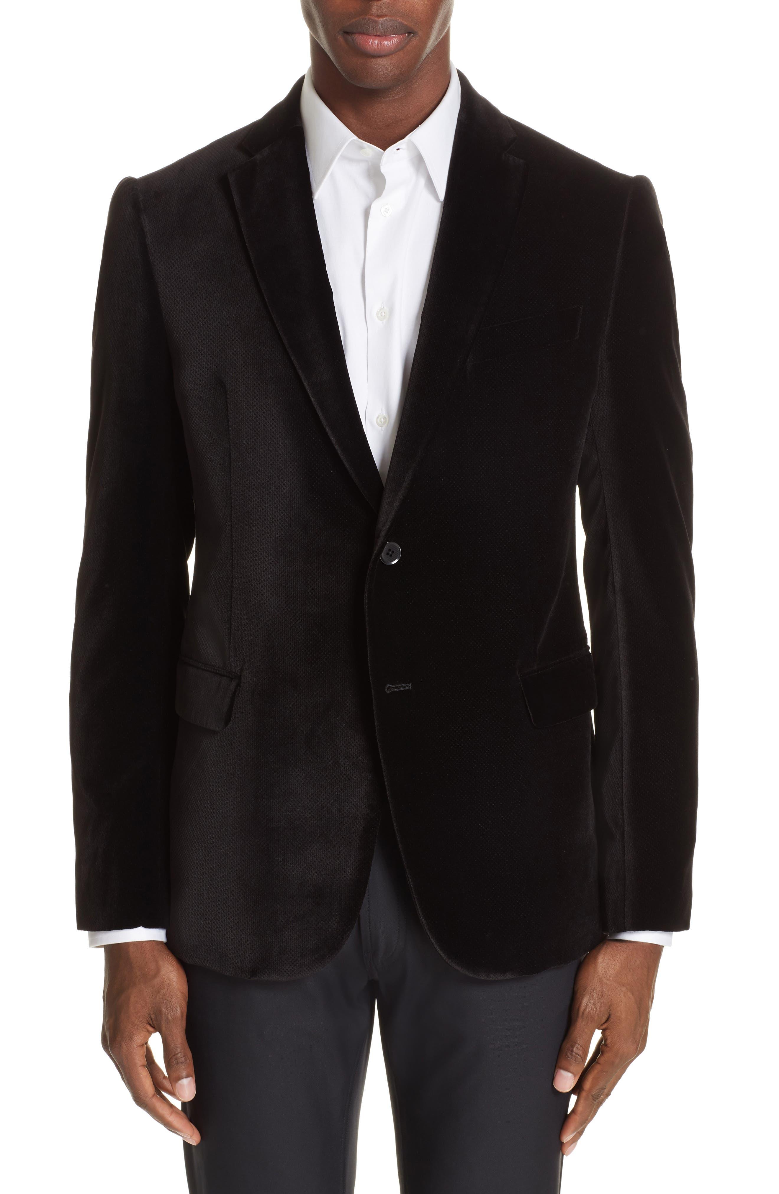 G-Line Trim Fit Velvet Blazer,                         Main,                         color, BLACK